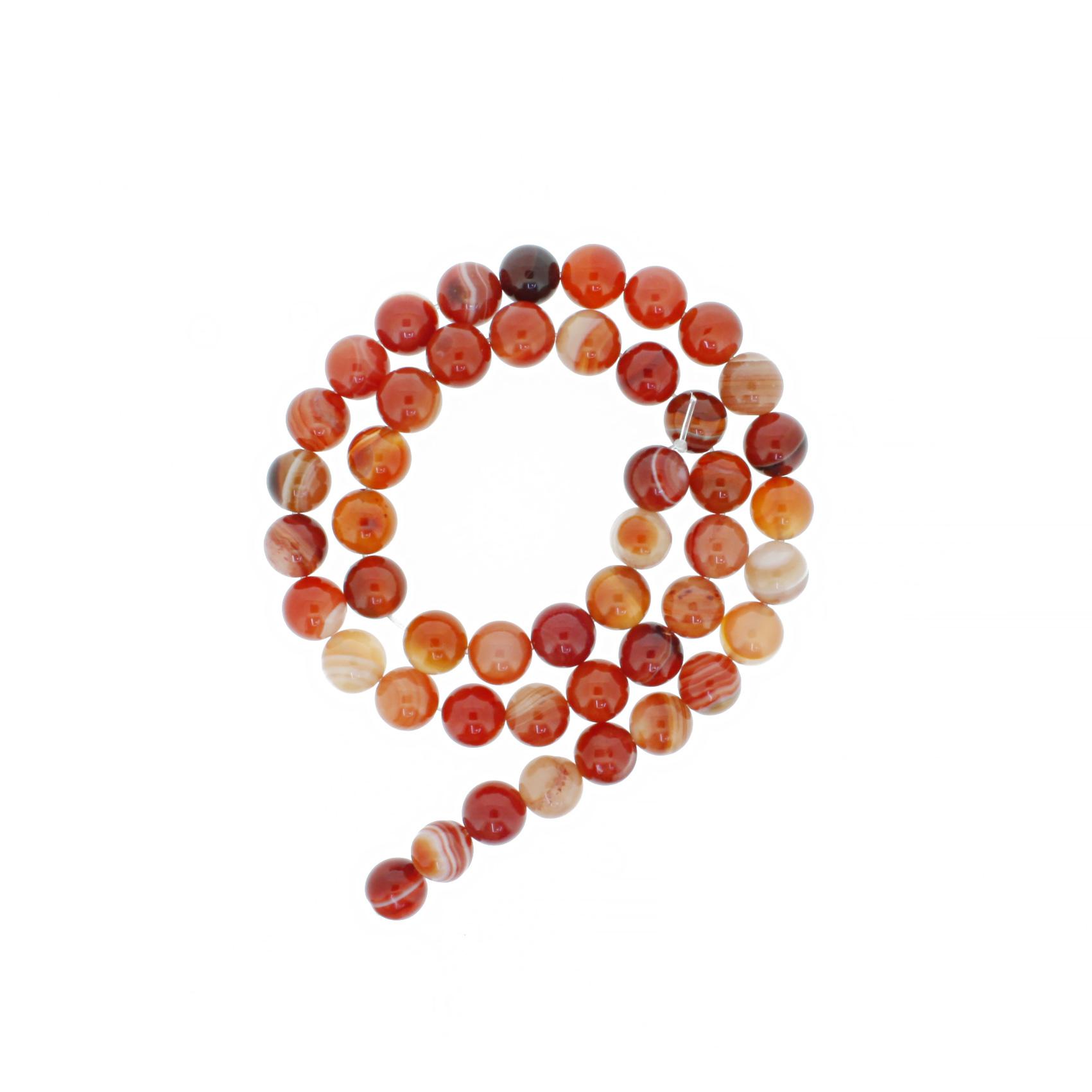 Fio de Pedra - Ágata de Fogo - 8mm  - Stéphanie Bijoux® - Peças para Bijuterias e Artesanato