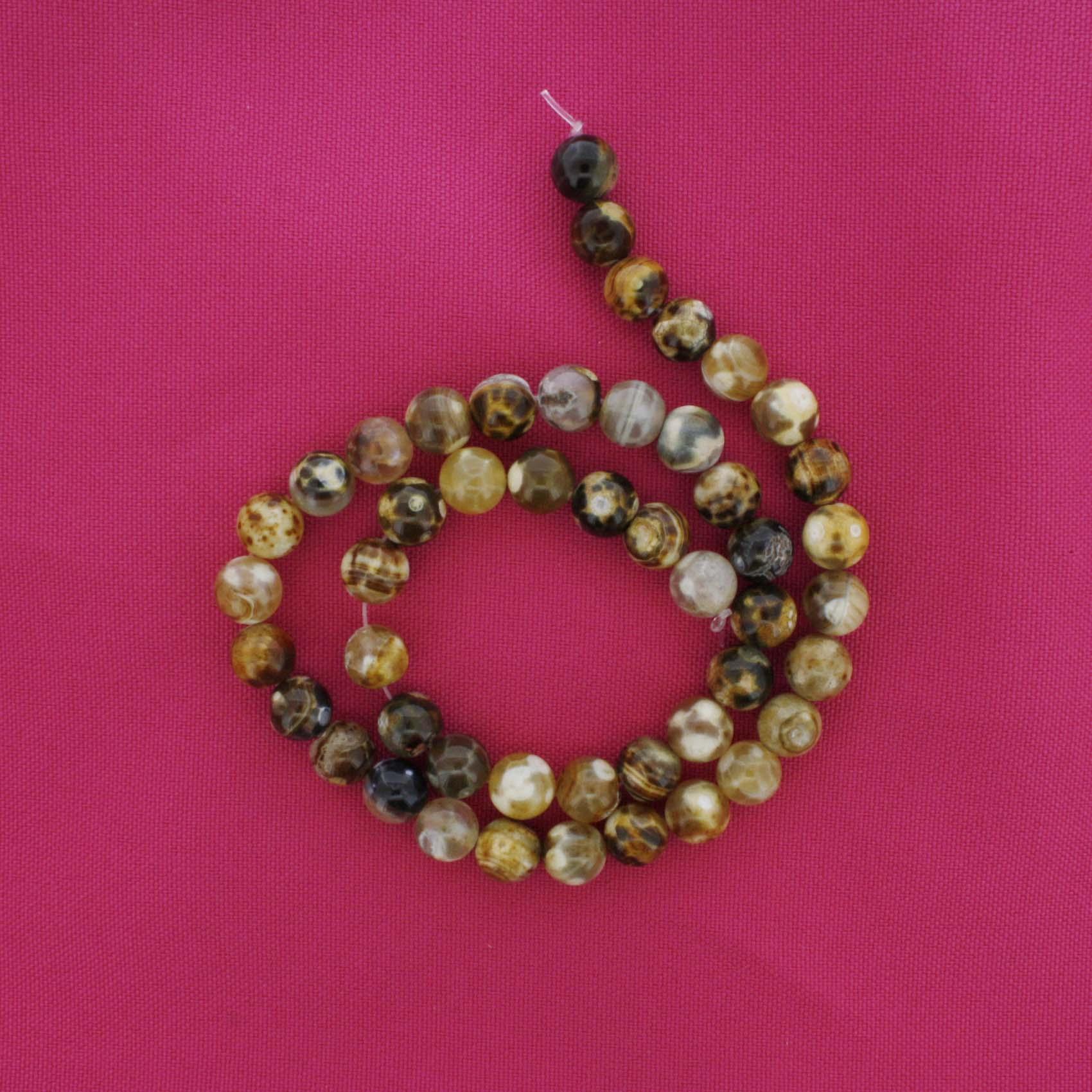 Fio de Pedra - Ágata Mesclada - 8mm  - Stéphanie Bijoux® - Peças para Bijuterias e Artesanato