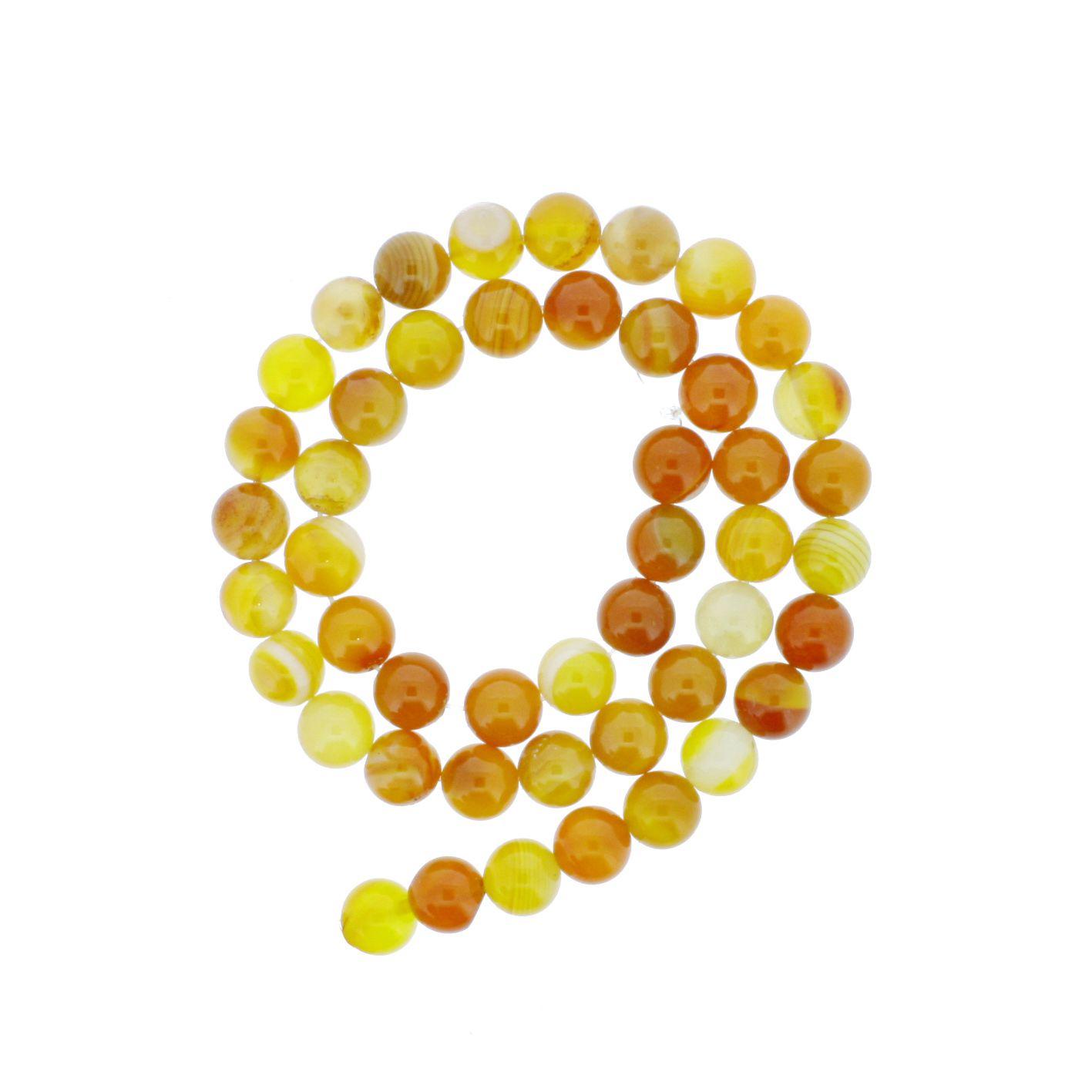 Fio de Pedra - Ágata Mix Laranja - 8mm  - Stéphanie Bijoux® - Peças para Bijuterias e Artesanato