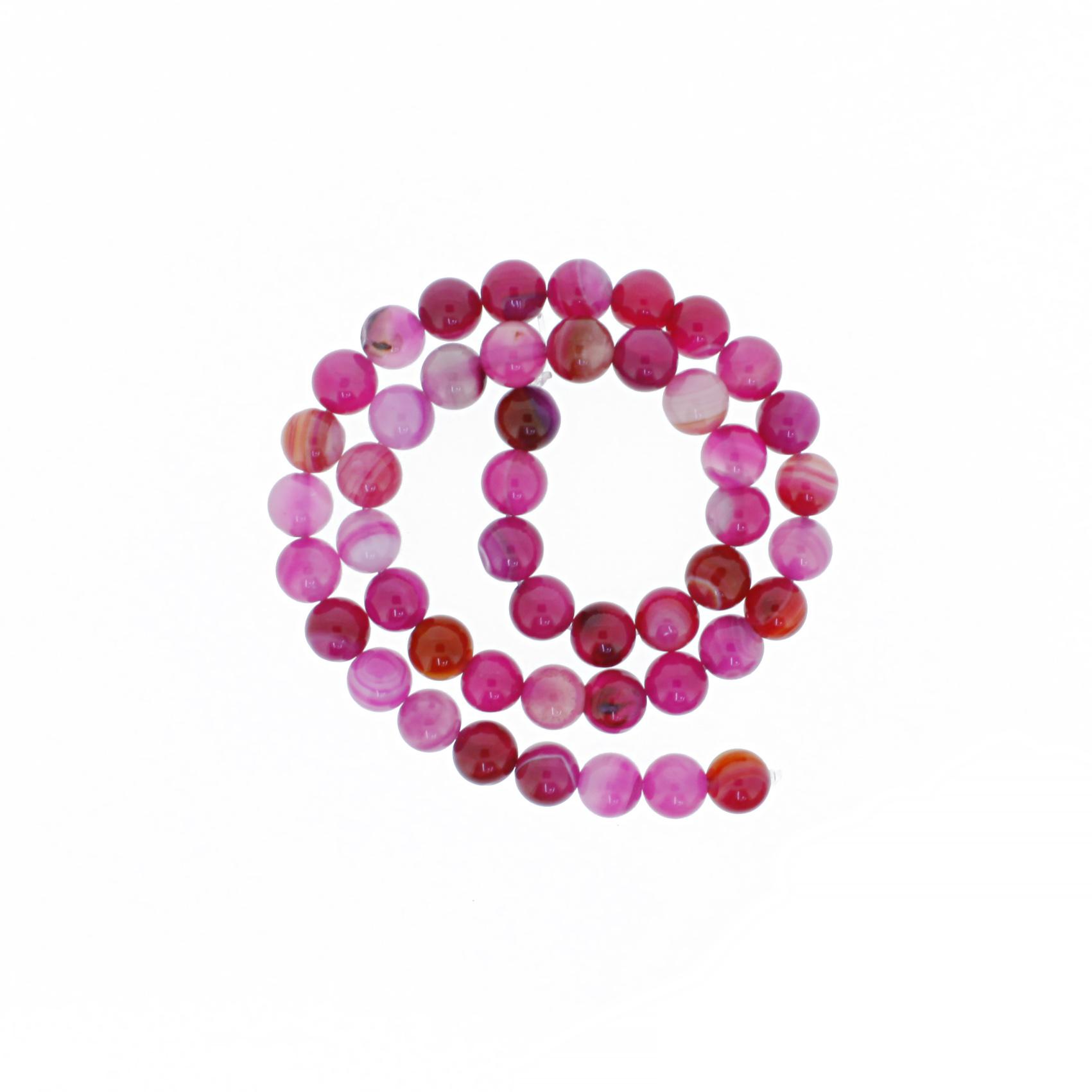 Fio de Pedra - Ágata Rosa - 8mm  - Stéphanie Bijoux® - Peças para Bijuterias e Artesanato