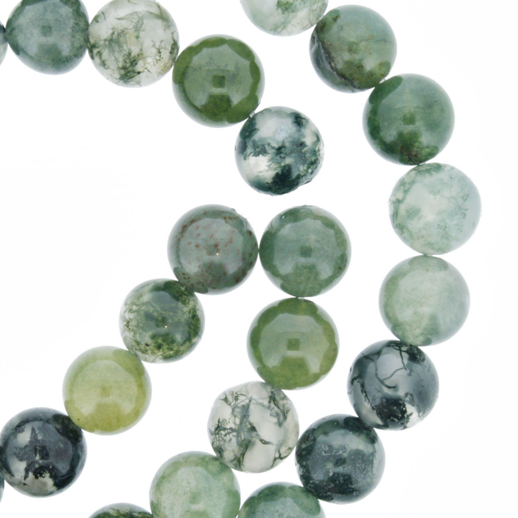 Fio de Pedra - Ágata Verde - 8mm  - Stéphanie Bijoux® - Peças para Bijuterias e Artesanato