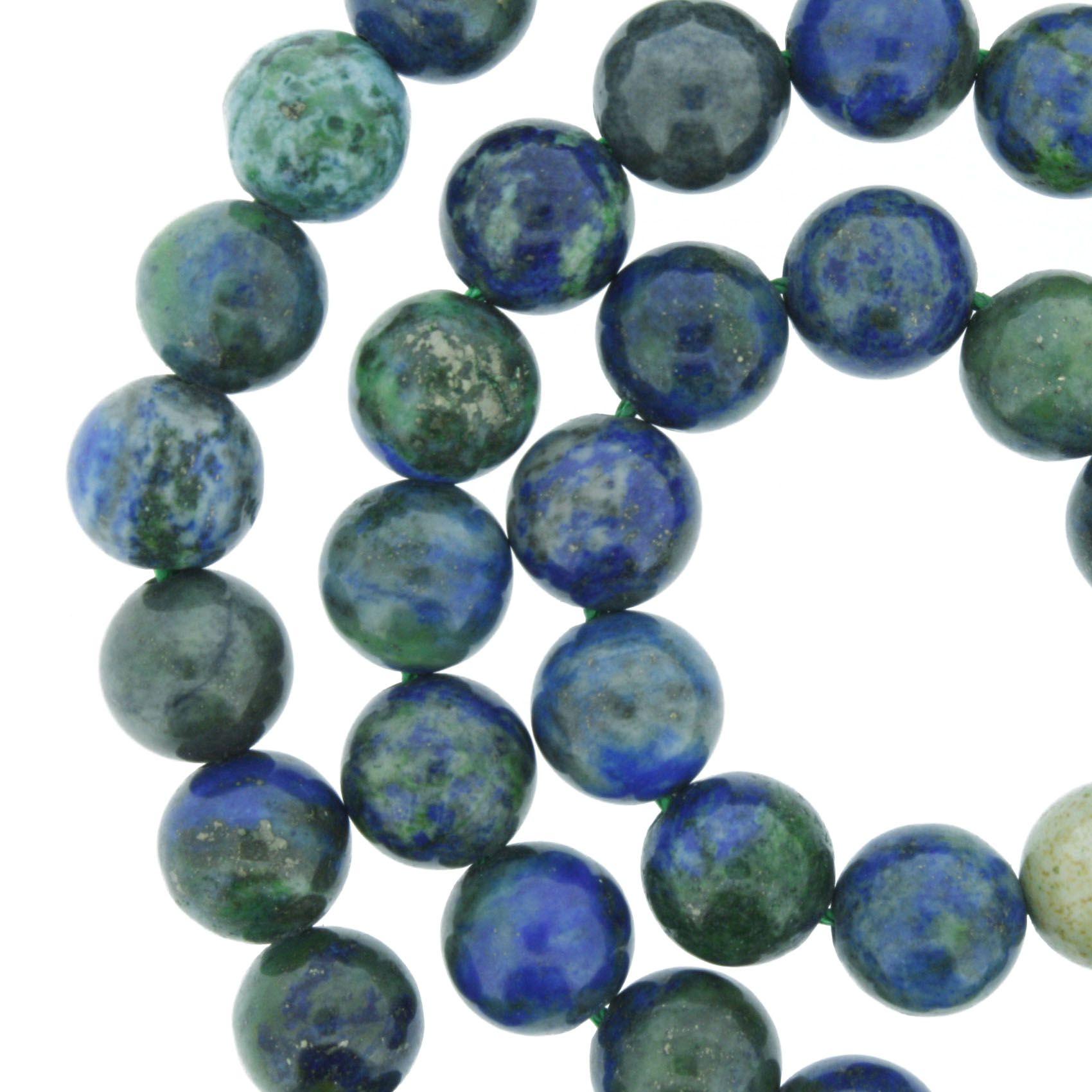 Fio de Pedra - Azurita - 8mm  - Stéphanie Bijoux® - Peças para Bijuterias e Artesanato