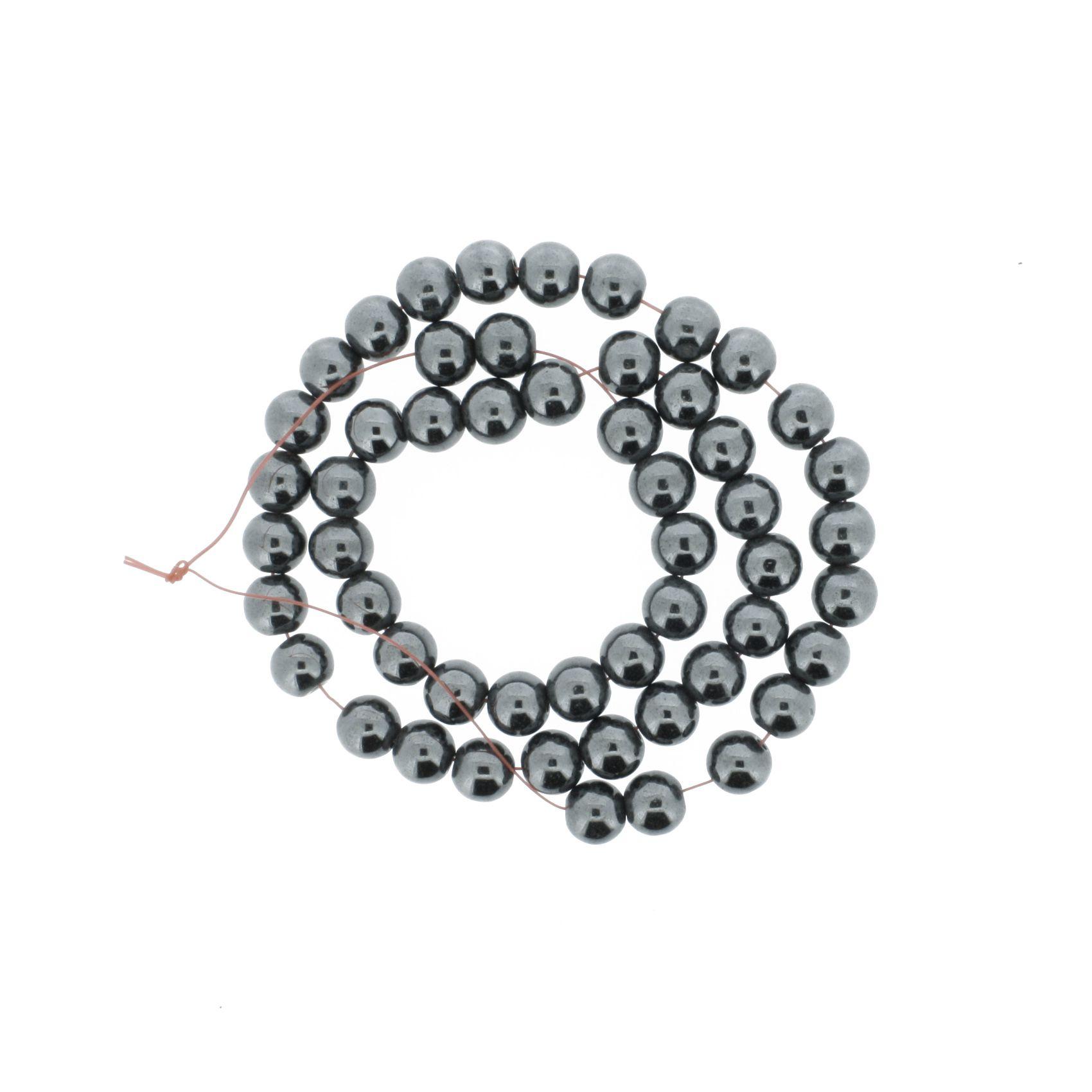 Fio de Pedra - Hematita - 8mm  - Stéphanie Bijoux® - Peças para Bijuterias e Artesanato