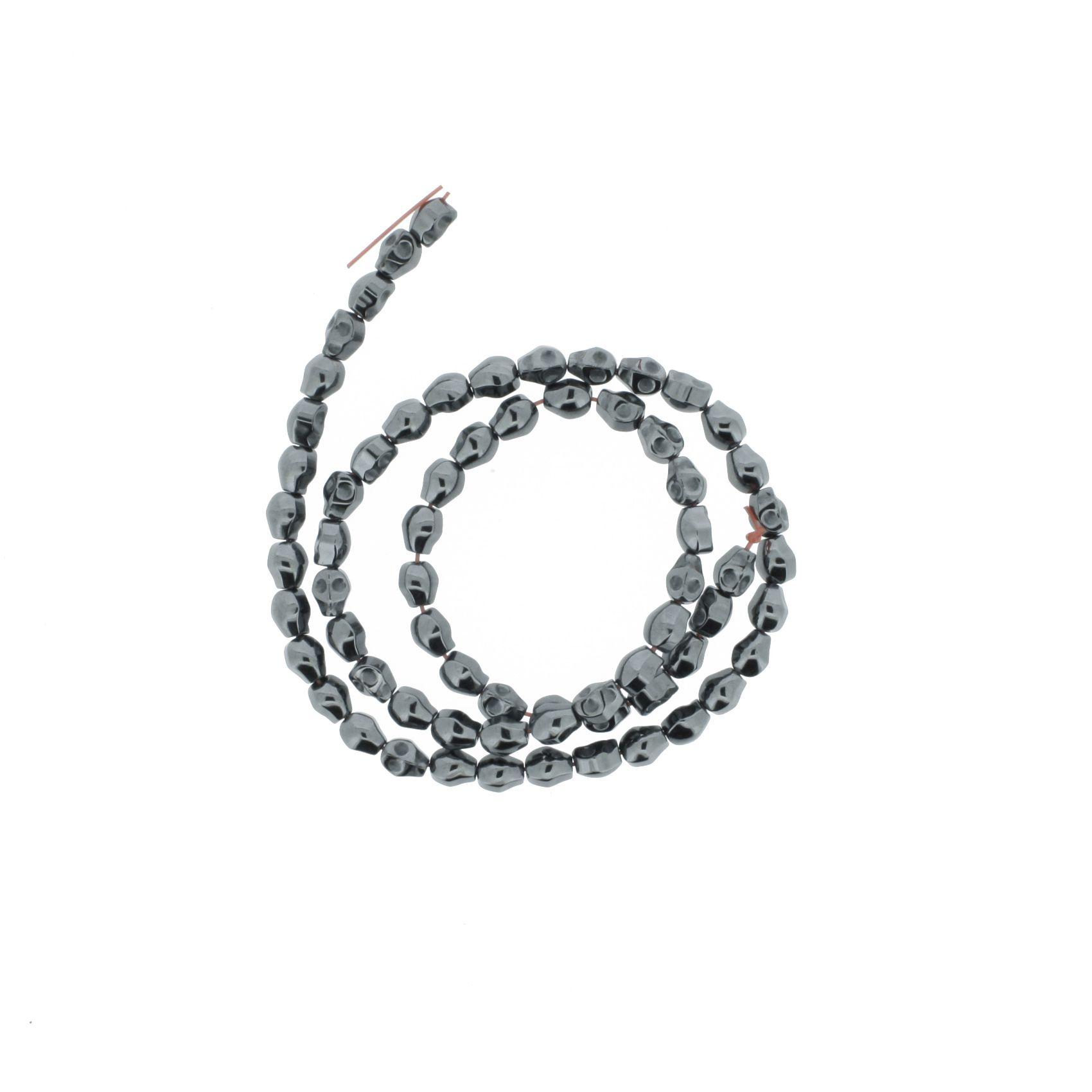 Fio de Pedra - Hematita Caveira - 6mm  - Stéphanie Bijoux® - Peças para Bijuterias e Artesanato