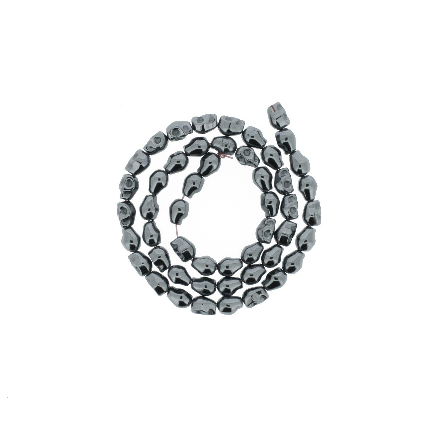 Fio de Pedra - Hematita Caveira - 8mm  - Stéphanie Bijoux® - Peças para Bijuterias e Artesanato