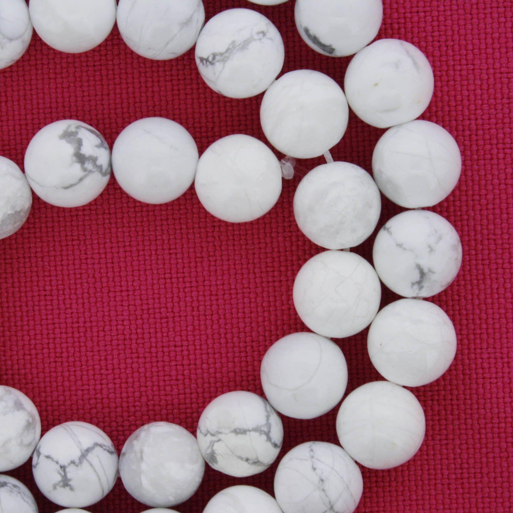Fio de Pedra - Howlita Branca Fosca - 8mm  - Stéphanie Bijoux® - Peças para Bijuterias e Artesanato