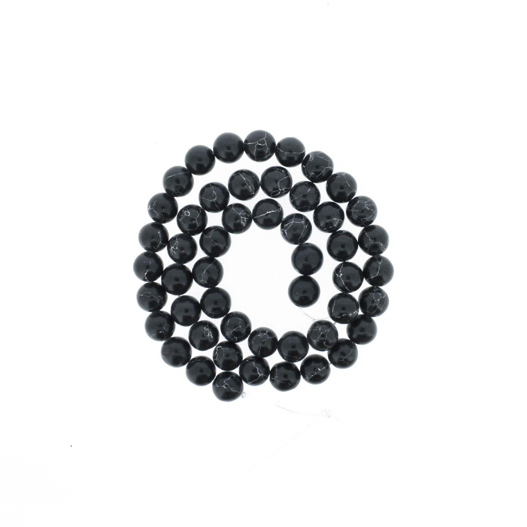 Fio de Pedra - Howlita Preta - 8mm  - Stéphanie Bijoux® - Peças para Bijuterias e Artesanato