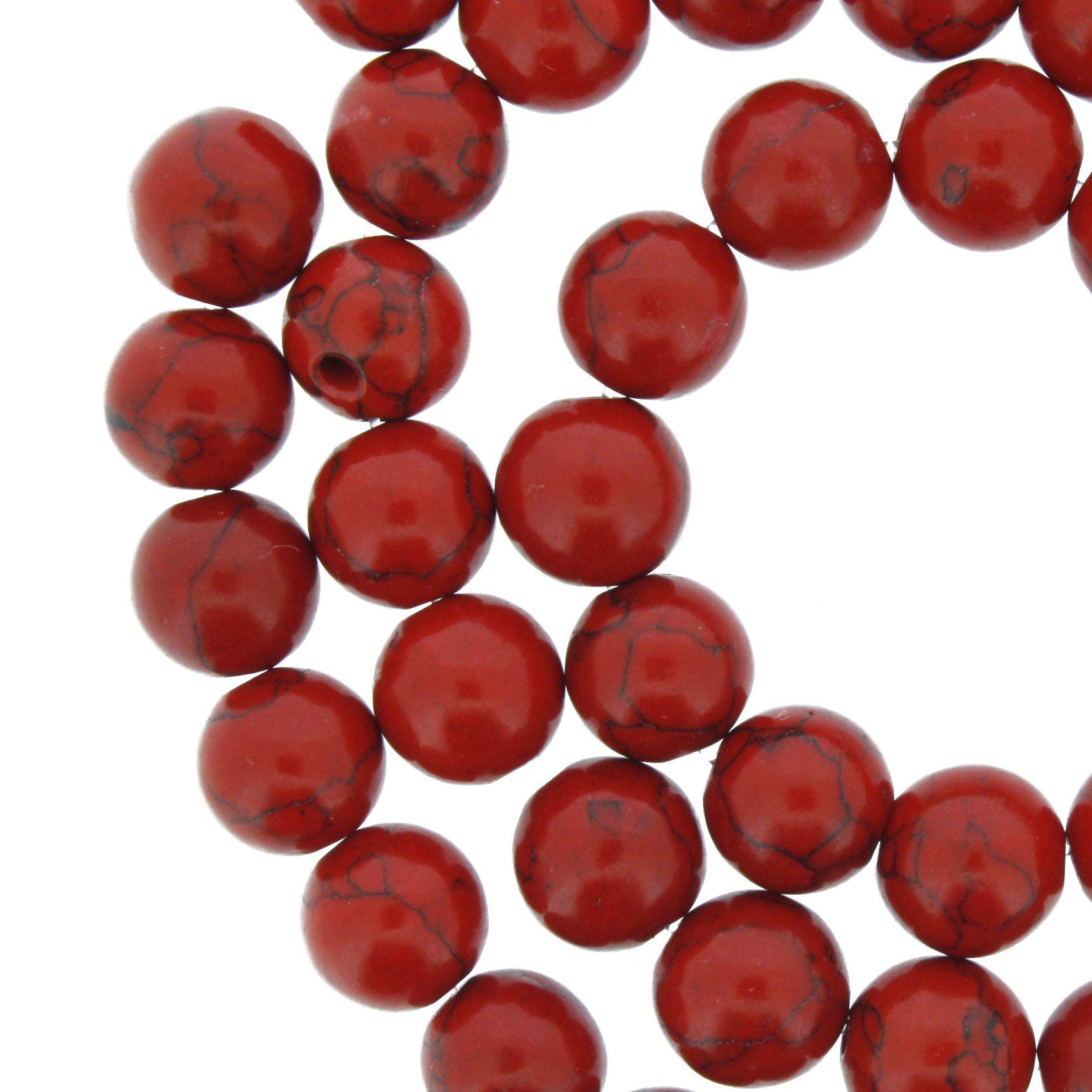 Fio de Pedra - Howlita Vermelha - 8mm  - Stéphanie Bijoux® - Peças para Bijuterias e Artesanato