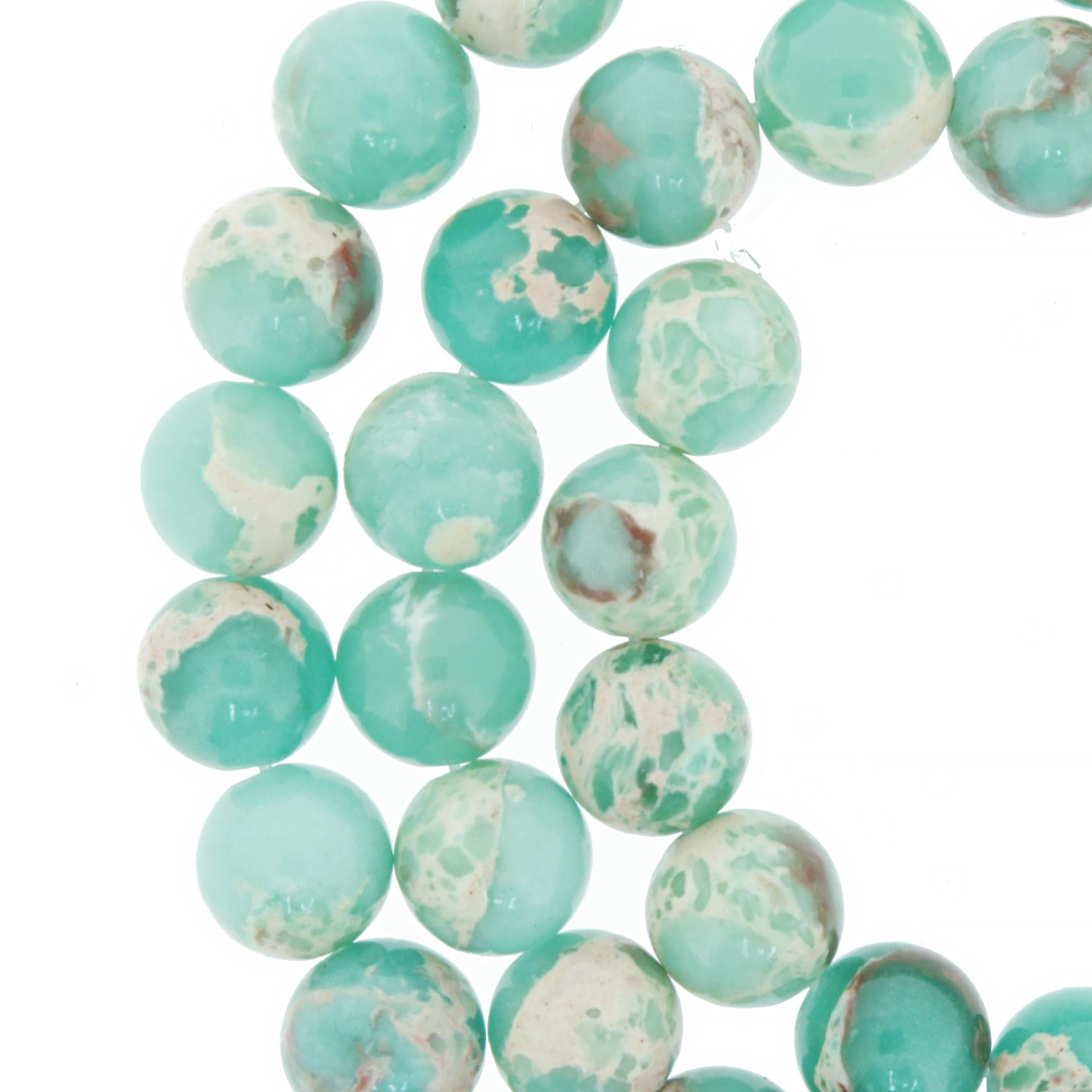 Fio de Pedra - Jaspe Imperial Verde Água - 8mm  - Stéphanie Bijoux® - Peças para Bijuterias e Artesanato