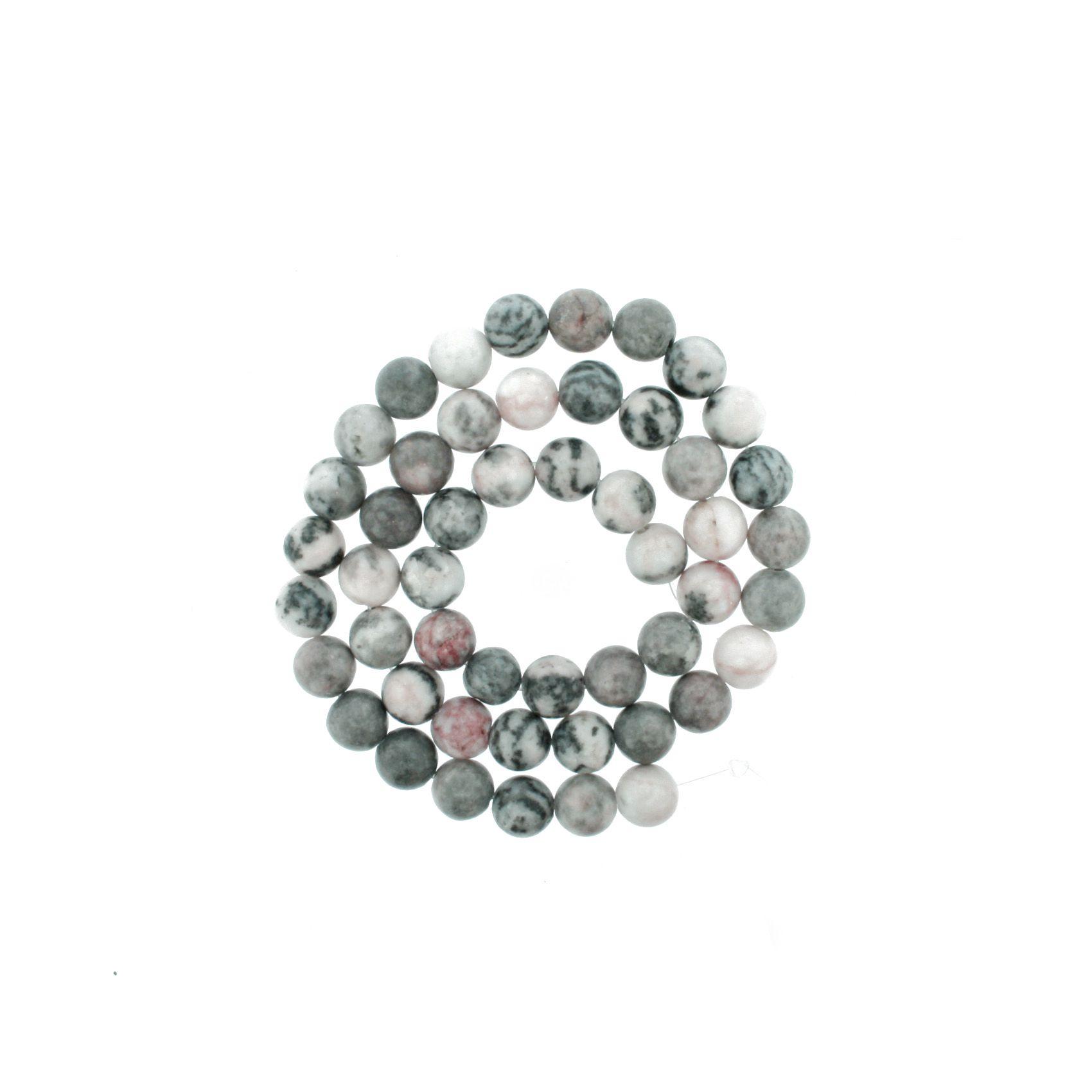 Fio de Pedra - Jaspe Cinza Mesclado - 8mm  - Stéphanie Bijoux® - Peças para Bijuterias e Artesanato