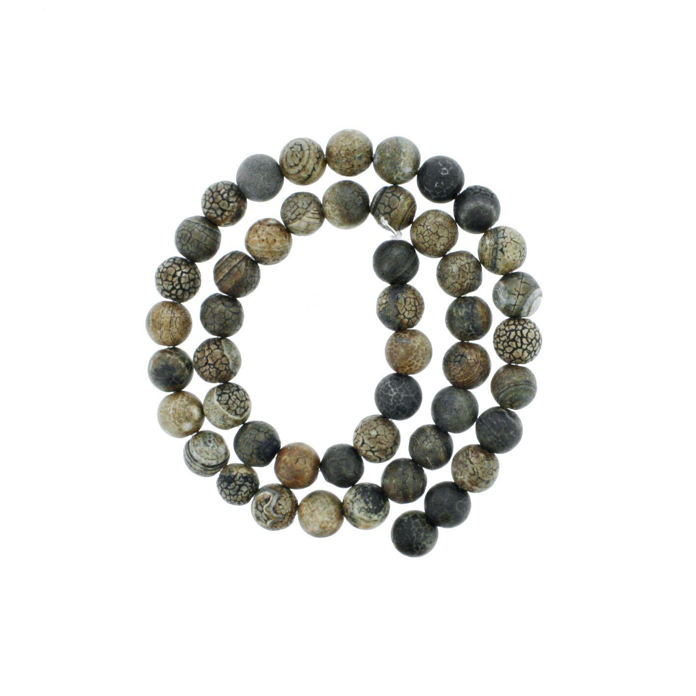 Fio de Pedra - Ágata Madeira - 8mm  - Stéphanie Bijoux® - Peças para Bijuterias e Artesanato