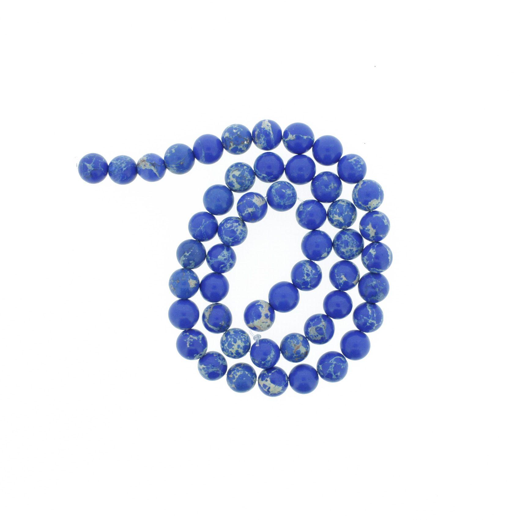Fio de Pedra - Jaspe Imperial Azu - 8mm  - Stéphanie Bijoux® - Peças para Bijuterias e Artesanato