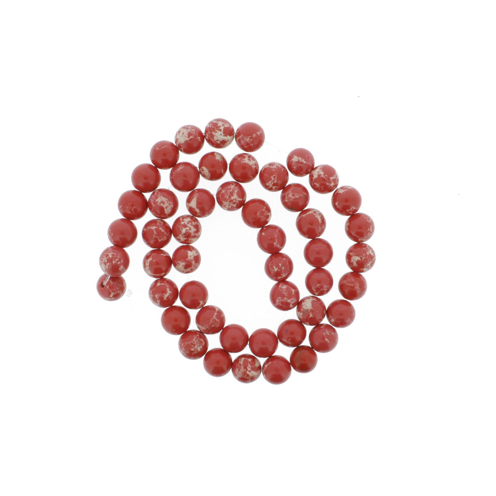 Fio de Pedra - Jaspe Imperial Vermelha - 8mm  - Stéphanie Bijoux® - Peças para Bijuterias e Artesanato