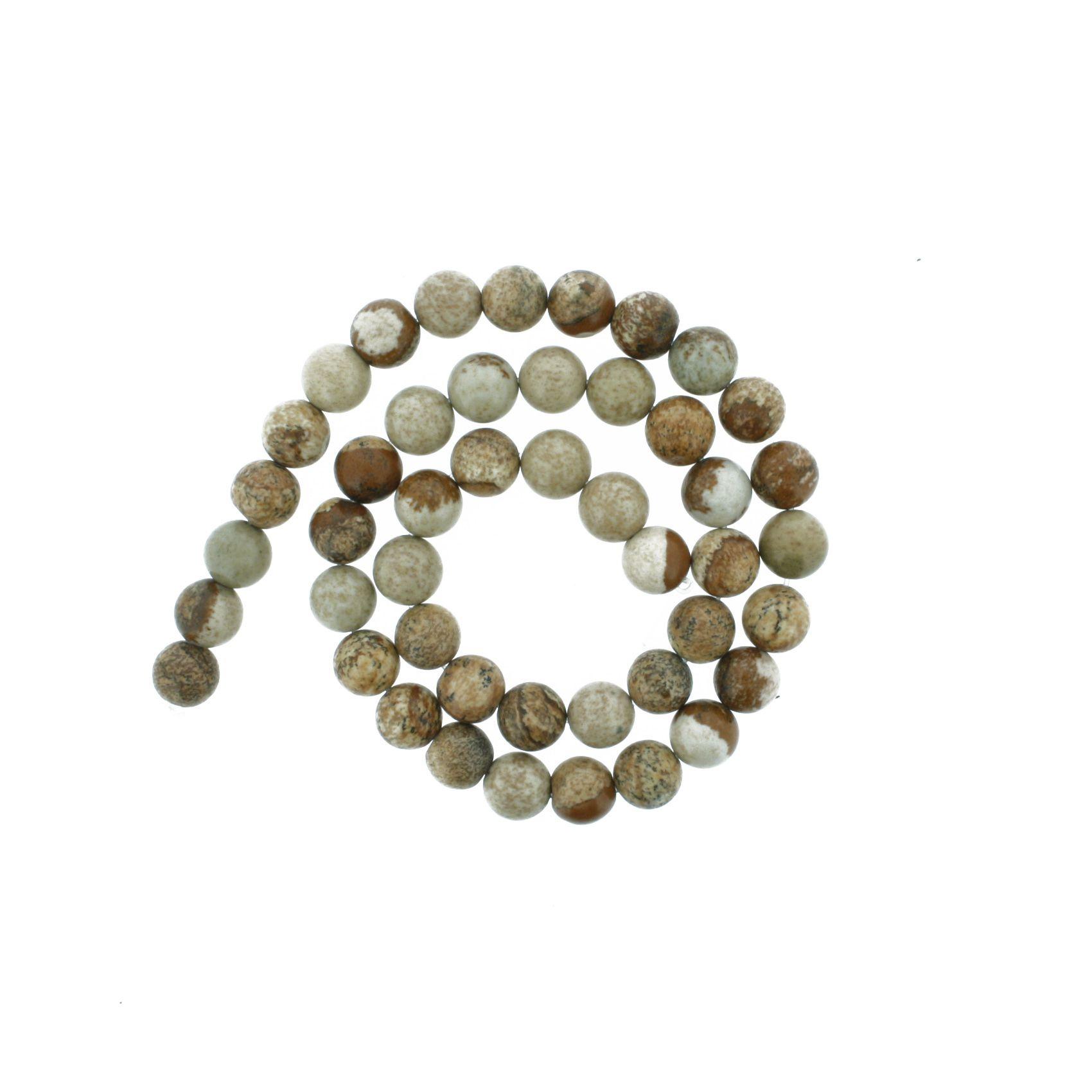 Fio de Pedra - Jaspe Madeira - 8mm  - Stéphanie Bijoux® - Peças para Bijuterias e Artesanato