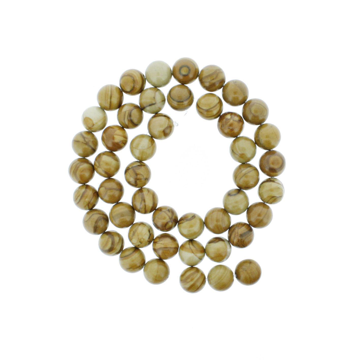 Fio de Pedra - Jaspe Madeira Linha - 8mm  - Stéphanie Bijoux® - Peças para Bijuterias e Artesanato
