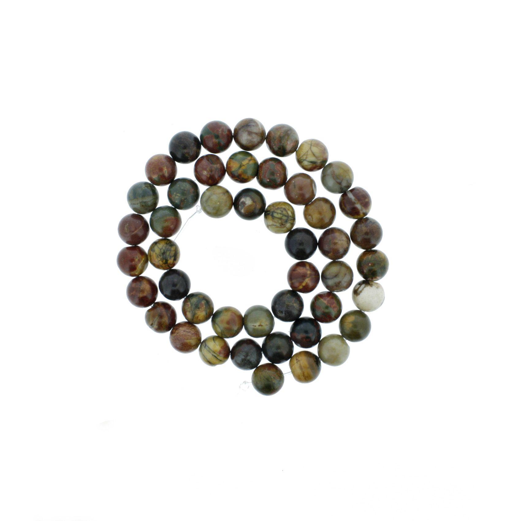 Fio de Pedra - Jaspe Mix - 8mm  - Stéphanie Bijoux® - Peças para Bijuterias e Artesanato