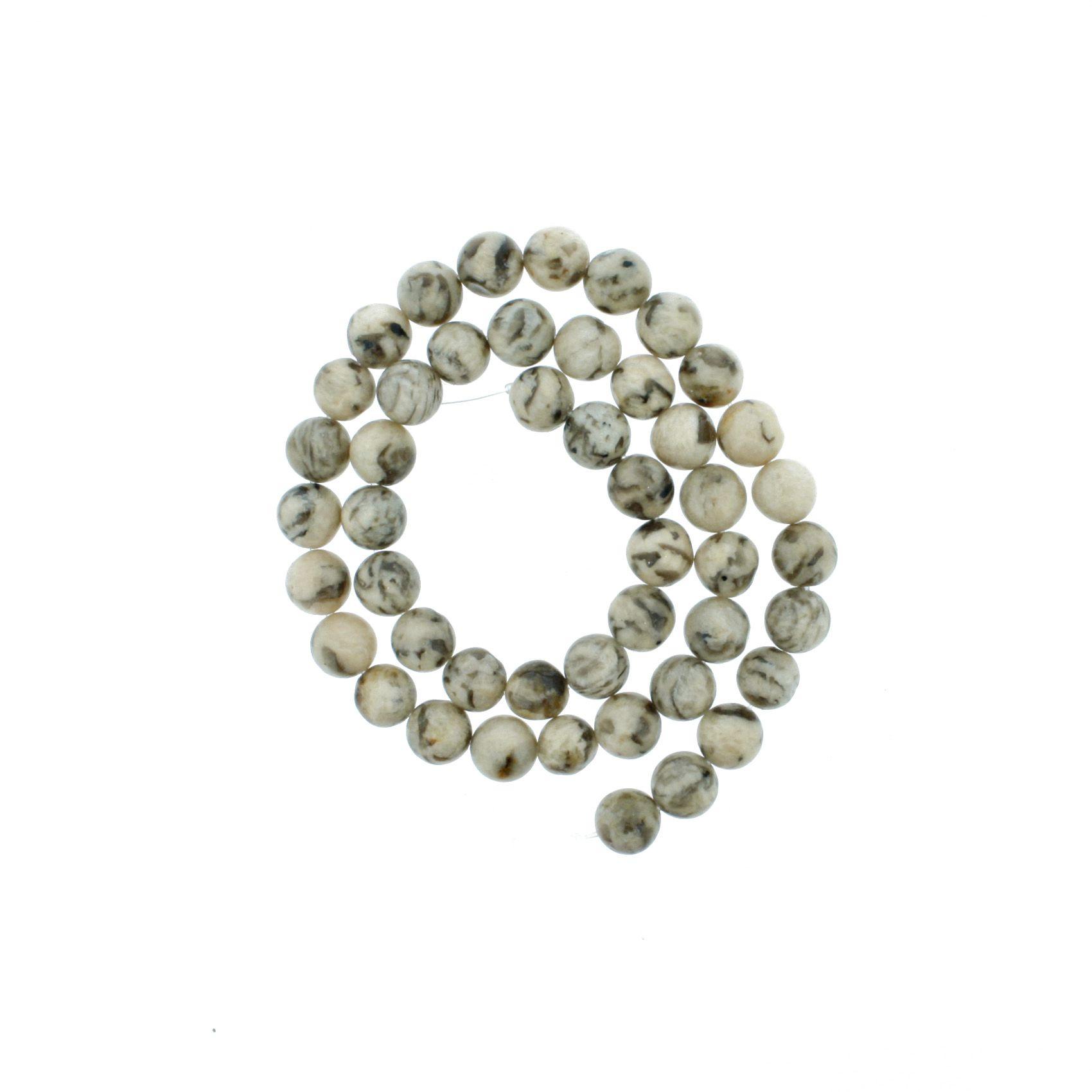 Fio de Pedra - Jaspe Vanilla - 8mm  - Stéphanie Bijoux® - Peças para Bijuterias e Artesanato