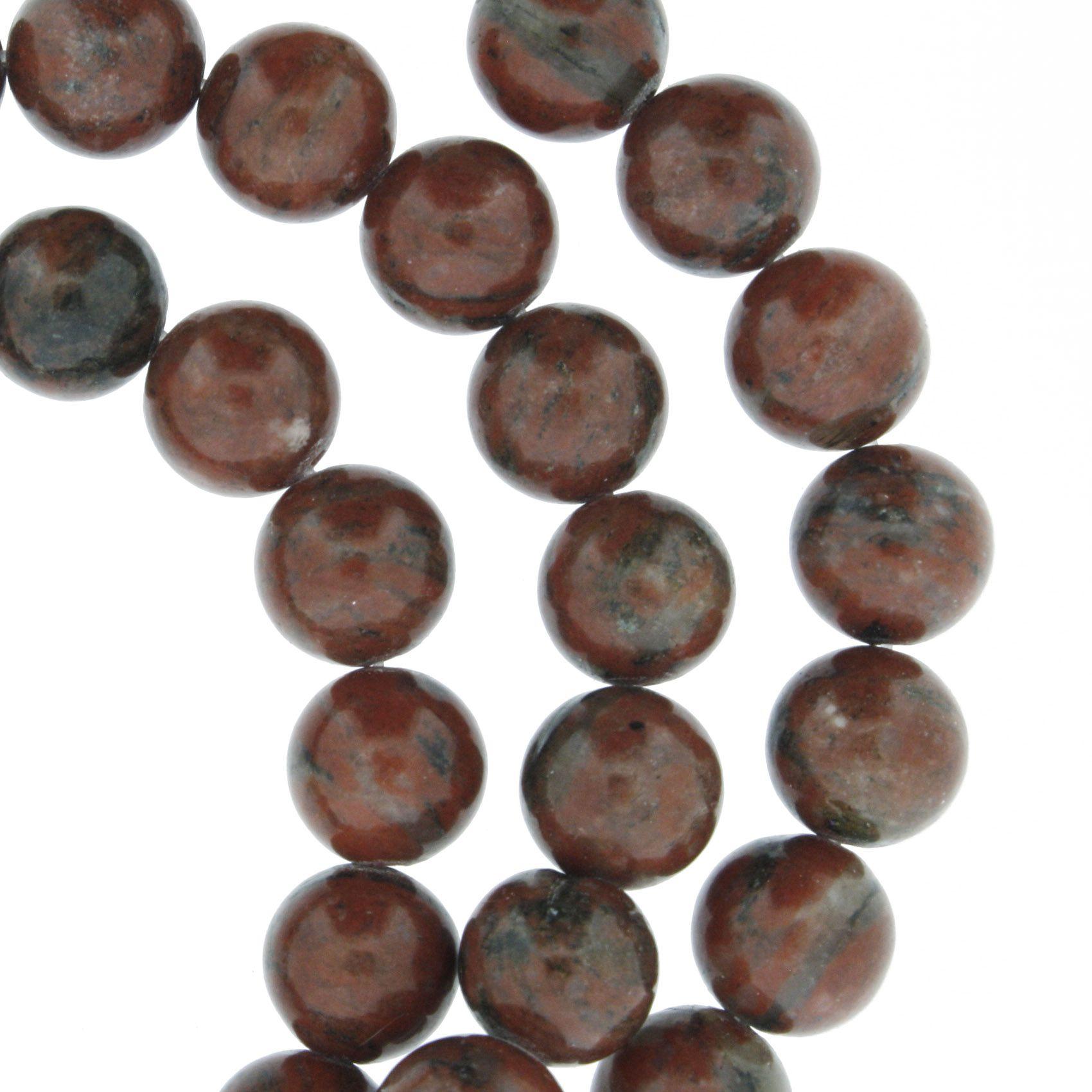 Fio de Pedra - Jaspe Vermelha - 8mm  - Stéphanie Bijoux® - Peças para Bijuterias e Artesanato