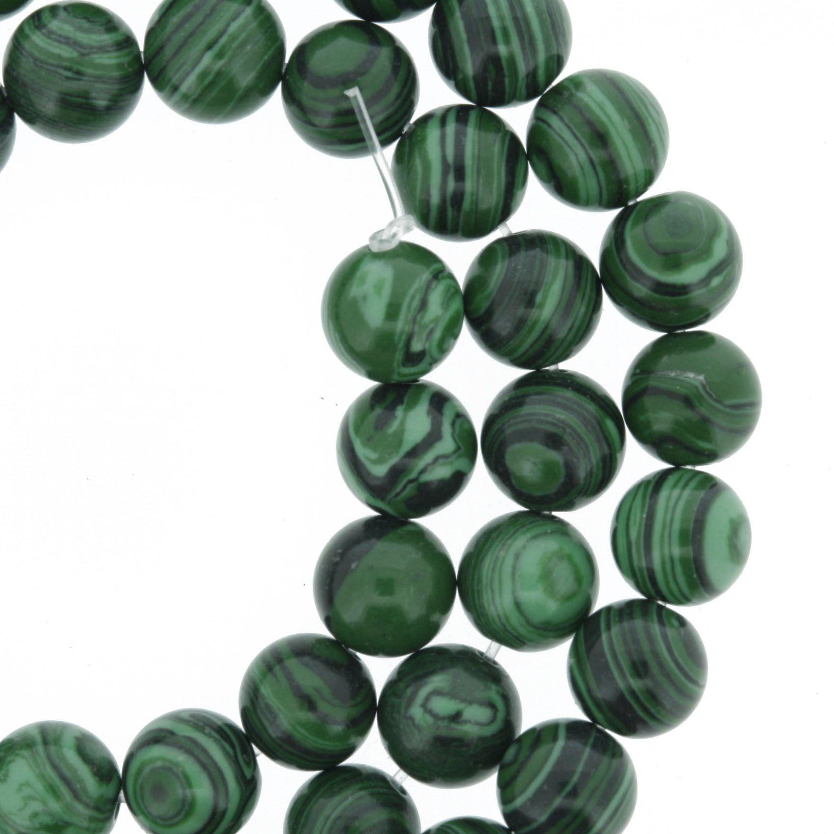Fio de Pedra - Malaquita - 8mm  - Stéphanie Bijoux® - Peças para Bijuterias e Artesanato