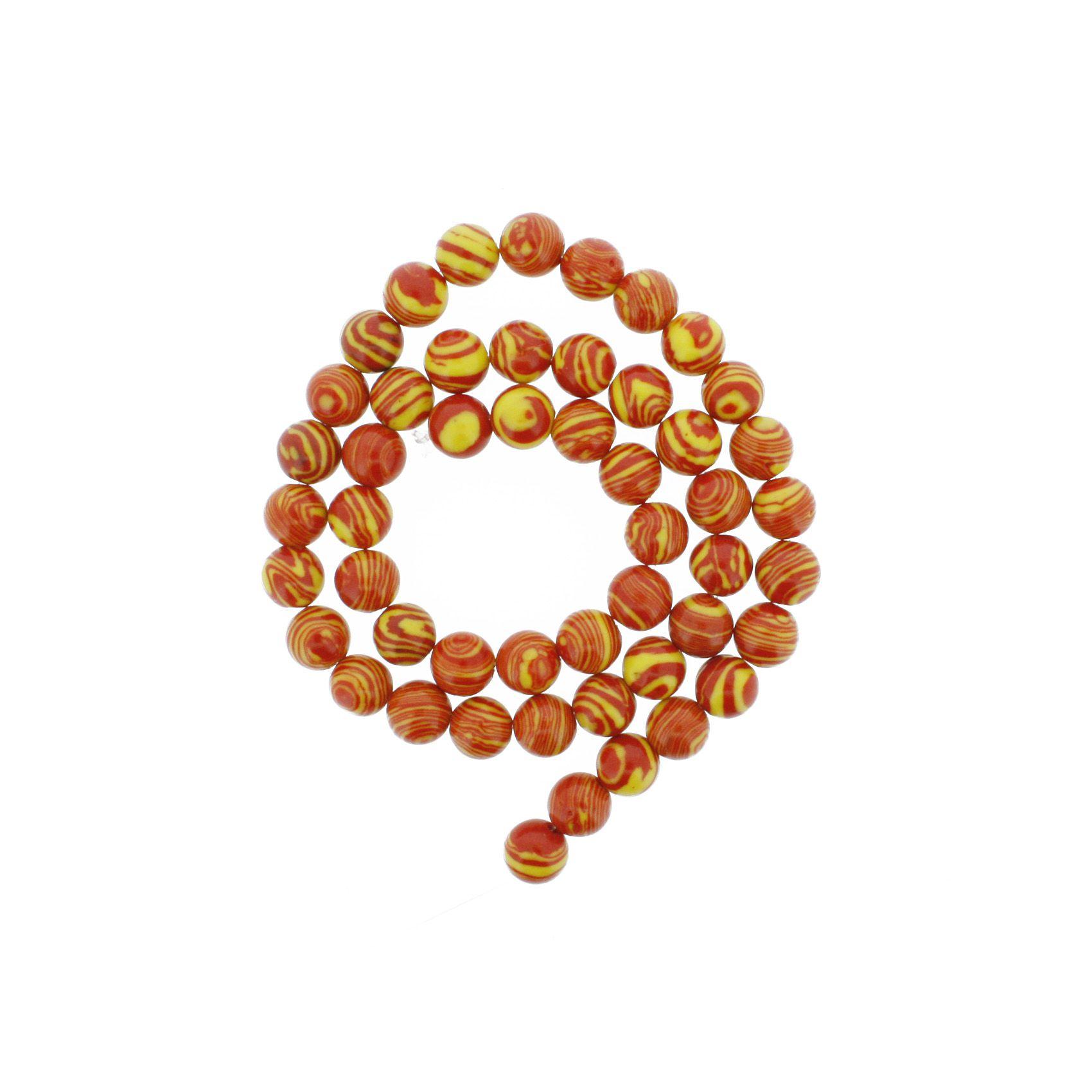 Fio de Pedra - Malaquita Vermelha e Amarela - 8mm  - Stéphanie Bijoux® - Peças para Bijuterias e Artesanato