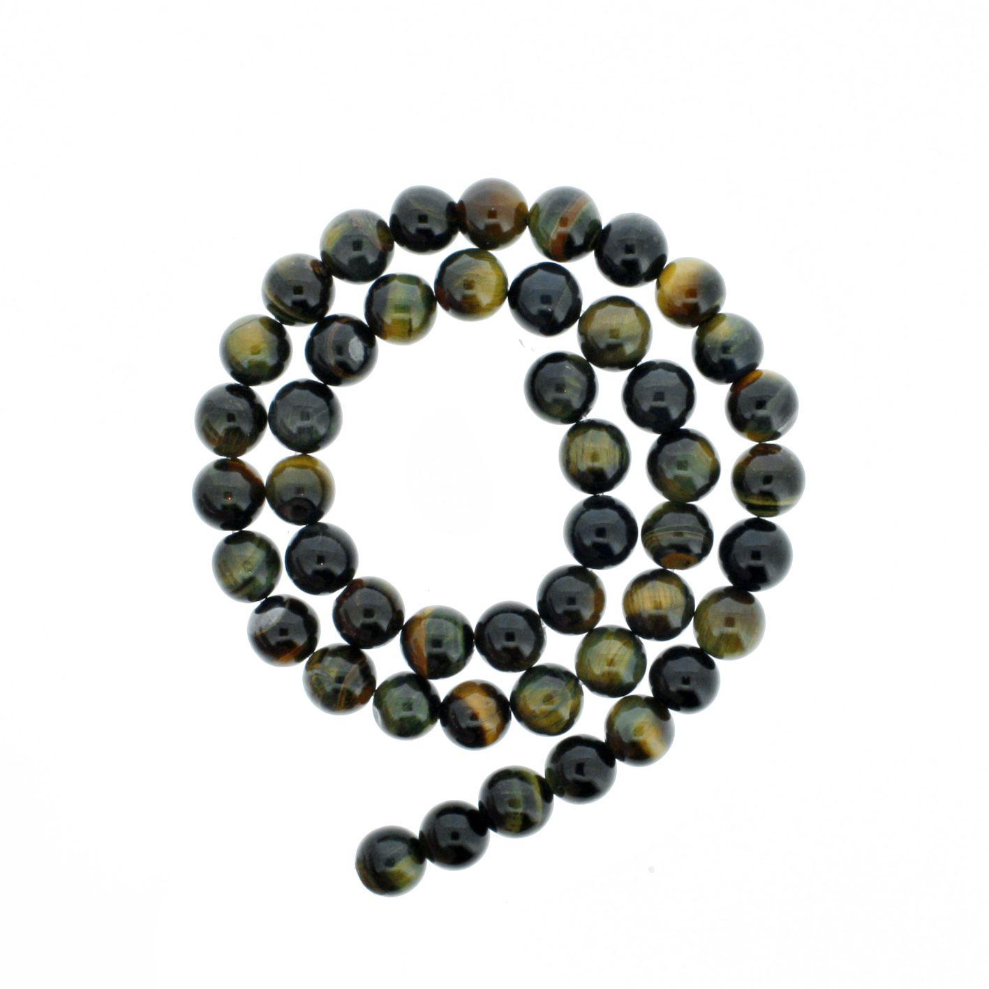Fio de Pedra - Olho de Falcão - 8mm  - Stéphanie Bijoux® - Peças para Bijuterias e Artesanato
