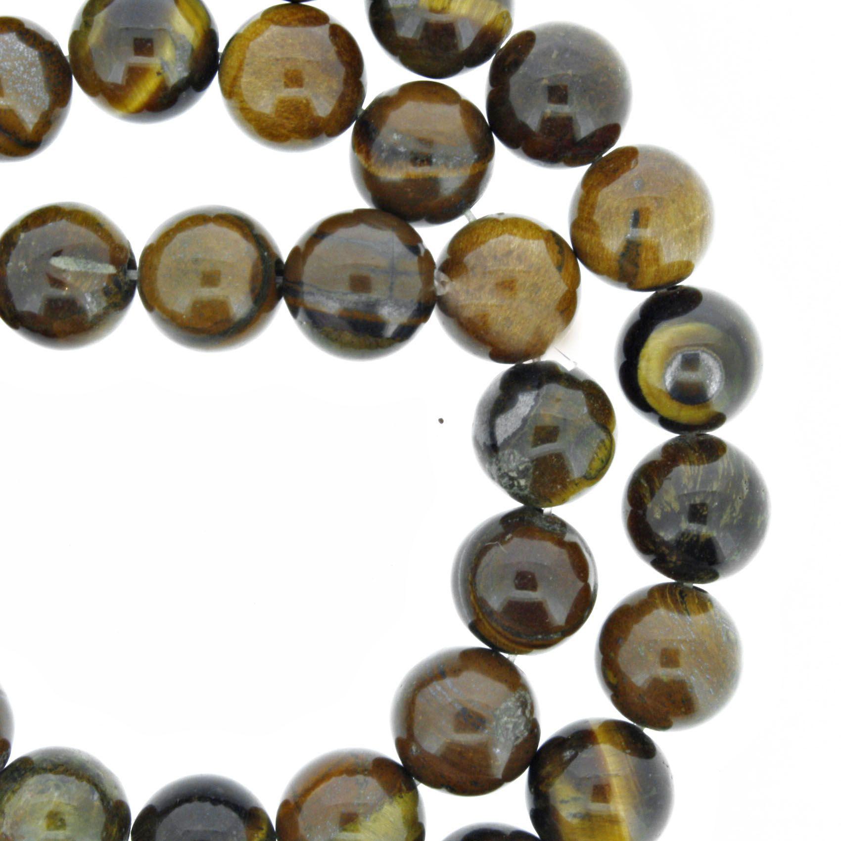 Fio de Pedra - Olho de Tigre - 8mm  - Stéphanie Bijoux® - Peças para Bijuterias e Artesanato