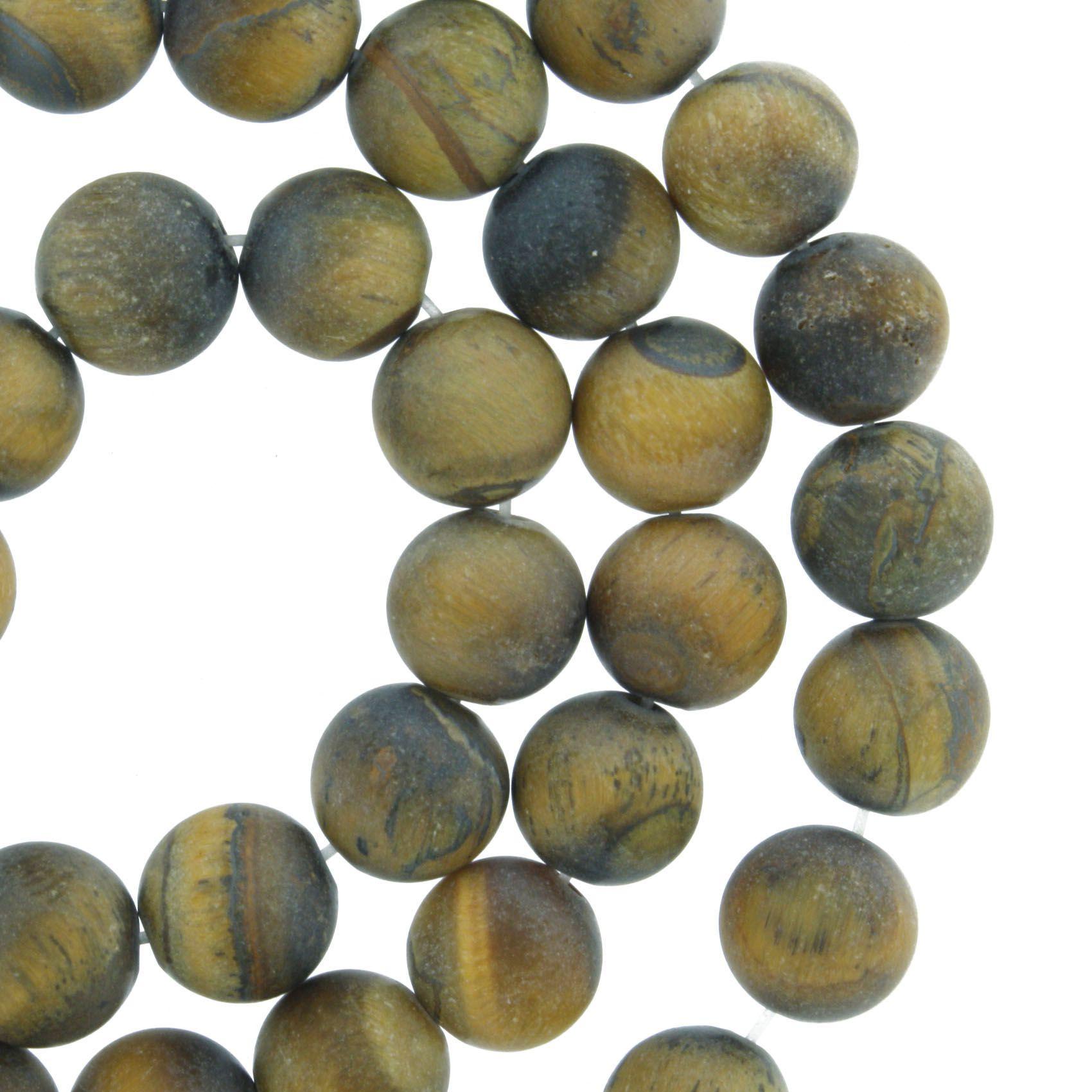 Fio de Pedra - Olho de Tigre Fosco - 8mm  - Stéphanie Bijoux® - Peças para Bijuterias e Artesanato