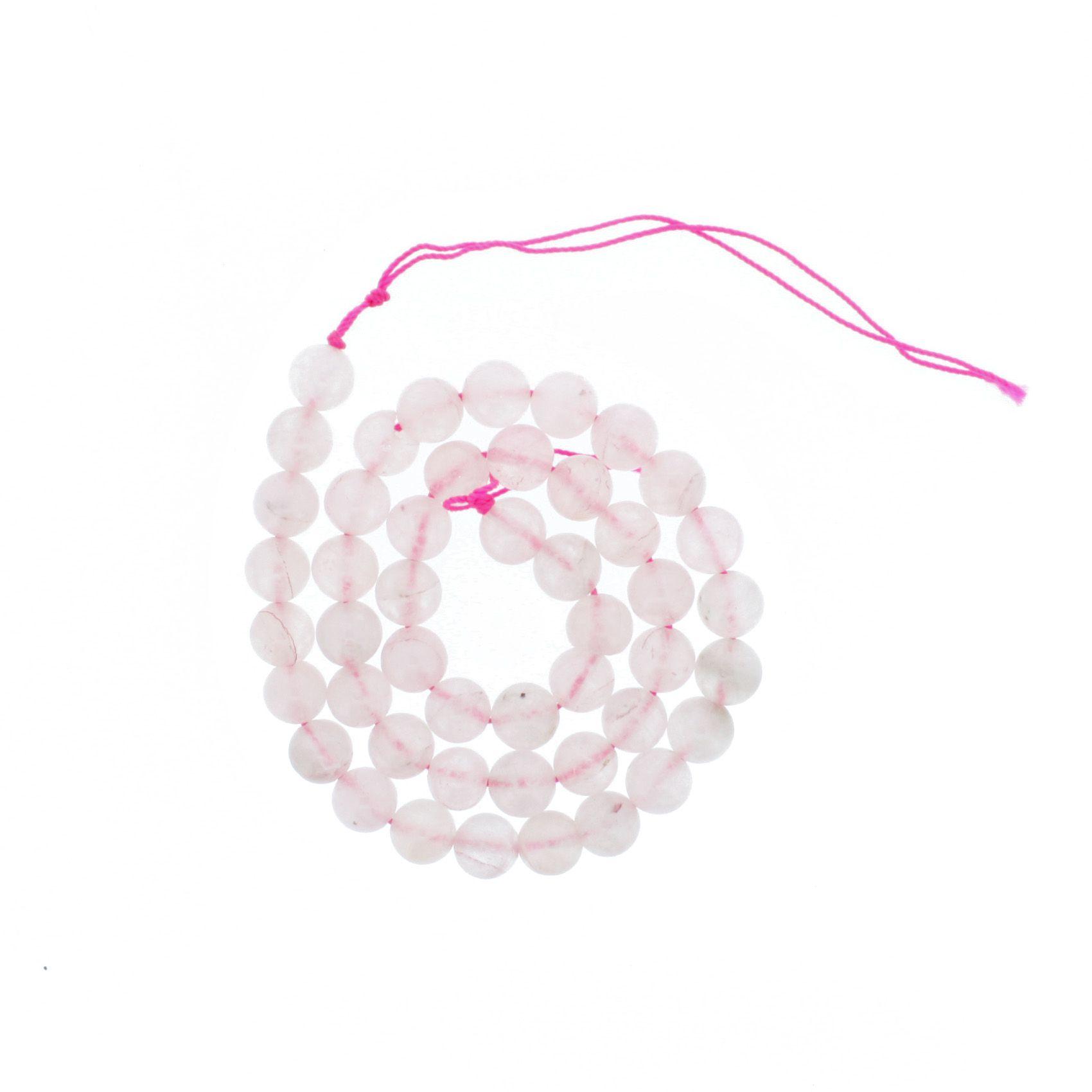 Fio de Pedra - Quartzo Rosa - 8mm  - Stéphanie Bijoux® - Peças para Bijuterias e Artesanato