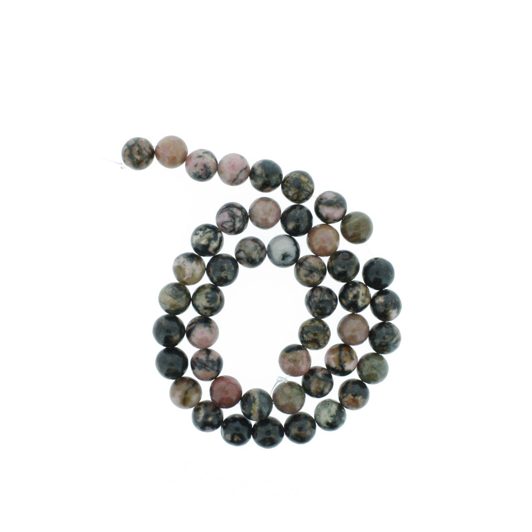 Fio de Pedra - Rodonita - 8mm  - Stéphanie Bijoux® - Peças para Bijuterias e Artesanato
