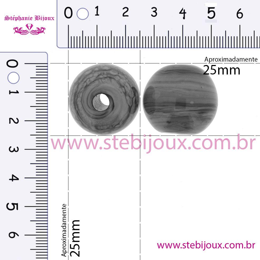 Firma Bola GG - Branca - 25mm  - Stéphanie Bijoux® - Peças para Bijuterias e Artesanato