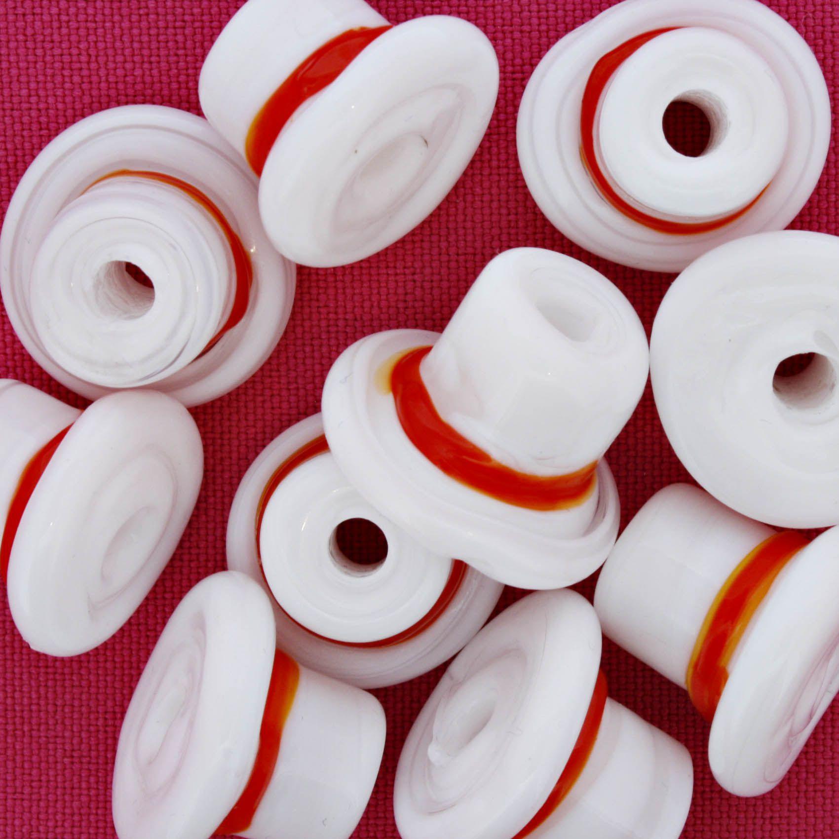 Firma Chapéu - Branco e Vermelho  - Stéphanie Bijoux® - Peças para Bijuterias e Artesanato