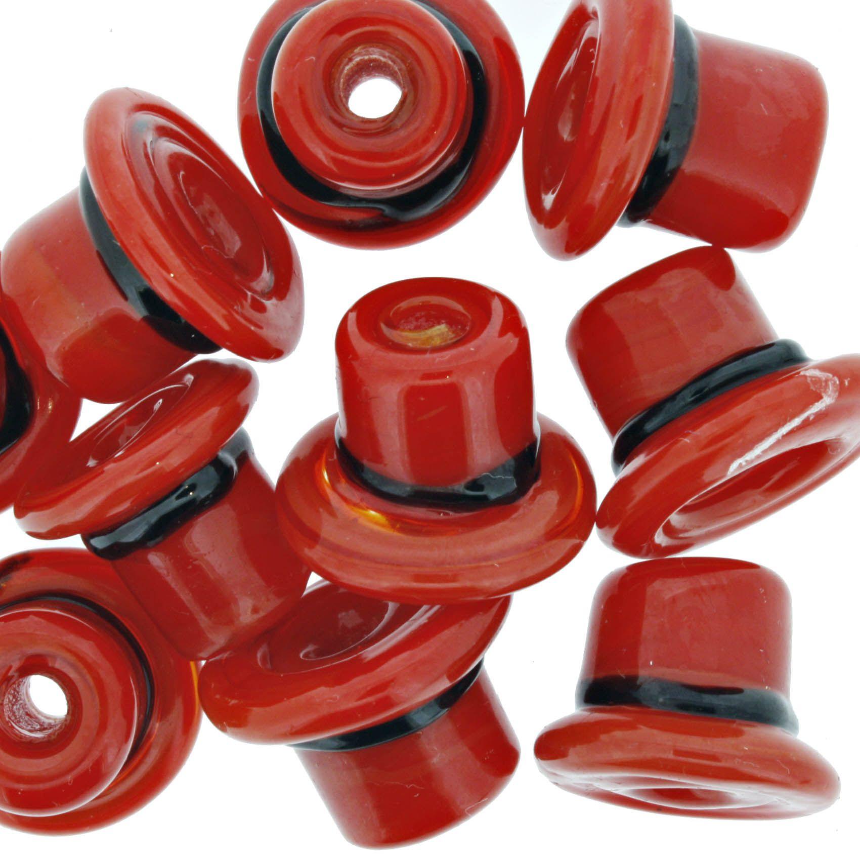 Firma Chapéu - Vermelho e Preto  - Stéphanie Bijoux® - Peças para Bijuterias e Artesanato