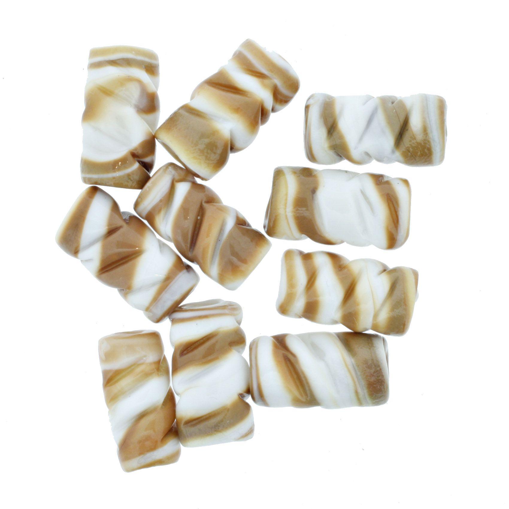 Firma Frisada - Branca e Marrom  - Stéphanie Bijoux® - Peças para Bijuterias e Artesanato
