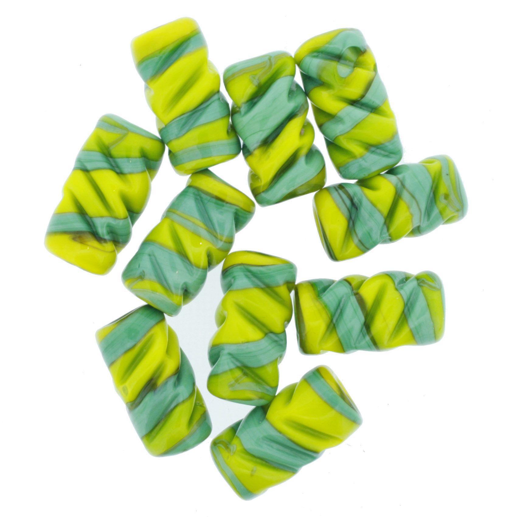 Firma Frisada - Verde e Amarela  - Stéphanie Bijoux® - Peças para Bijuterias e Artesanato