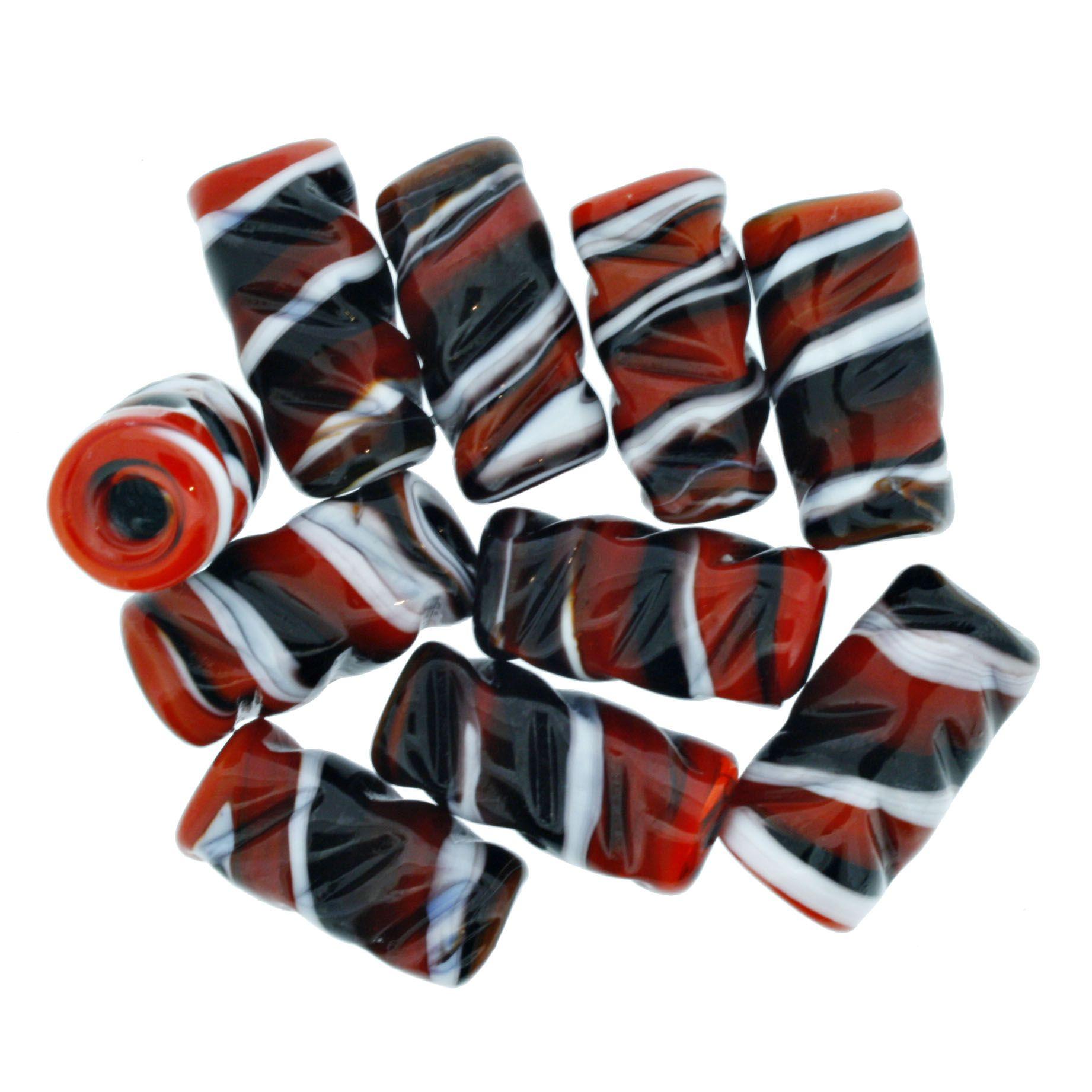 Firma Frisada - Vermelha Preta e Branca  - Stéphanie Bijoux® - Peças para Bijuterias e Artesanato