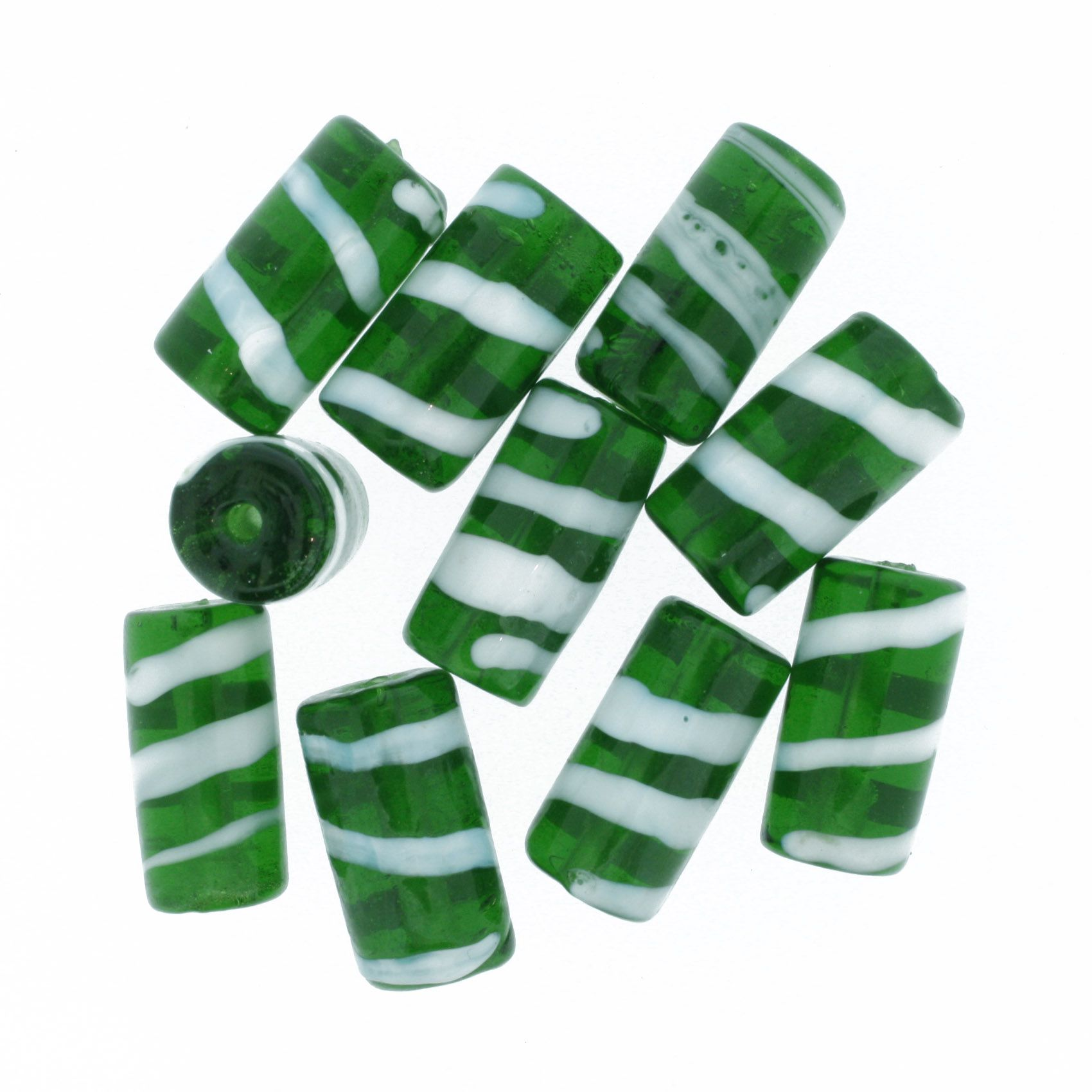 Firma Rajada - Branca e Verde Escura  - Stéphanie Bijoux® - Peças para Bijuterias e Artesanato
