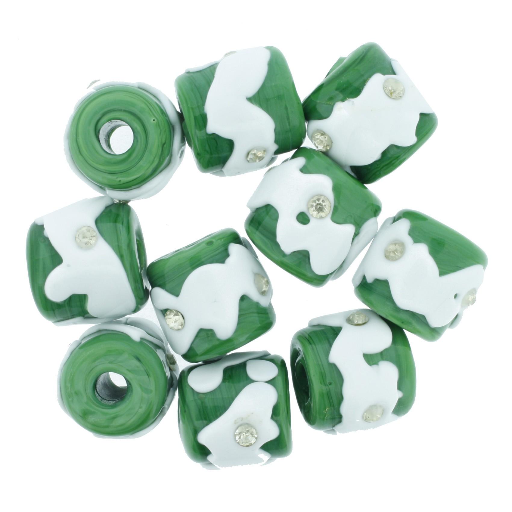 Firmas Strass - Verde e Branca  - Stéphanie Bijoux® - Peças para Bijuterias e Artesanato