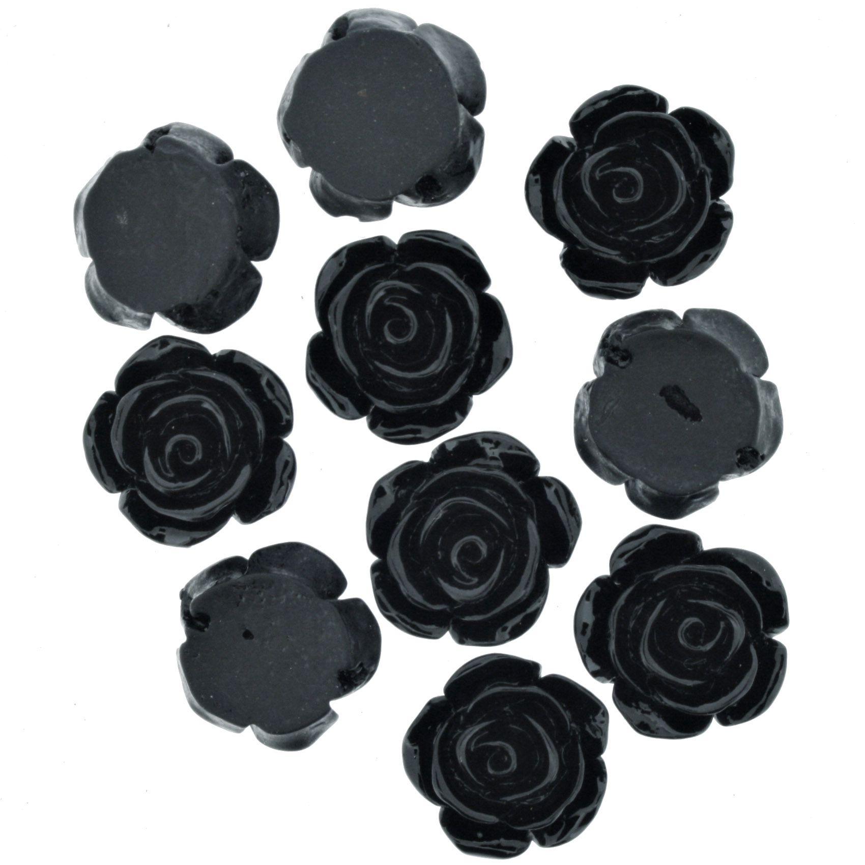 Flor de Resina - Preta - 16mm  - Stéphanie Bijoux® - Peças para Bijuterias e Artesanato