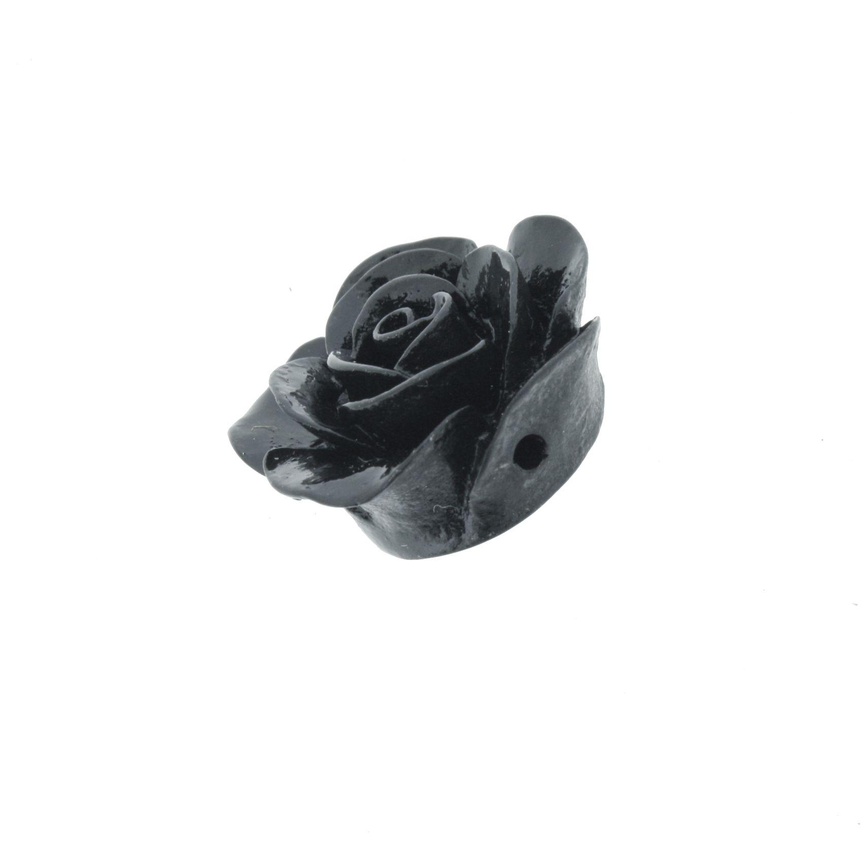 Flor de Resina - Preta - 23mm  - Stéphanie Bijoux® - Peças para Bijuterias e Artesanato