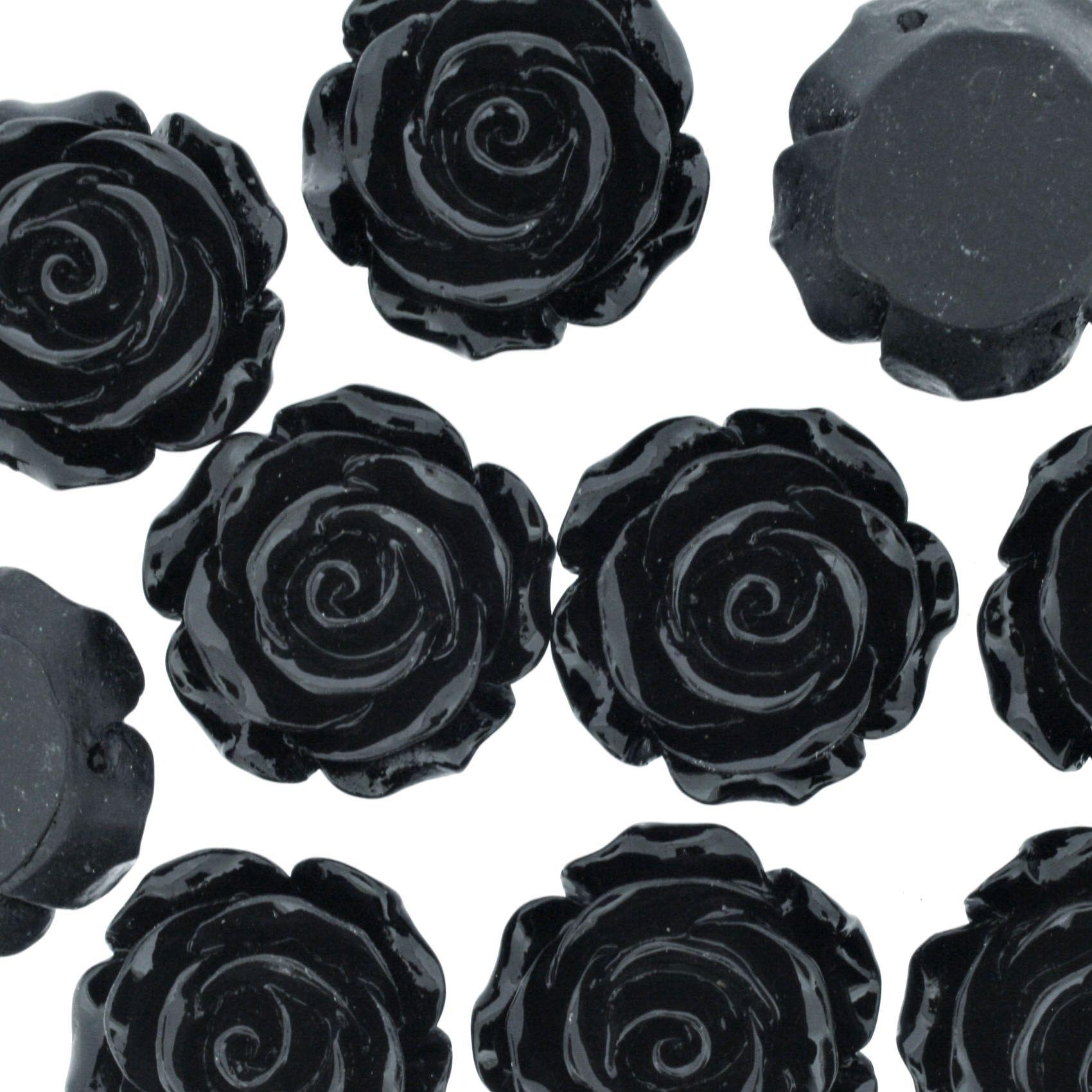 Flor de Resina - Preta - 28mm  - Stéphanie Bijoux® - Peças para Bijuterias e Artesanato
