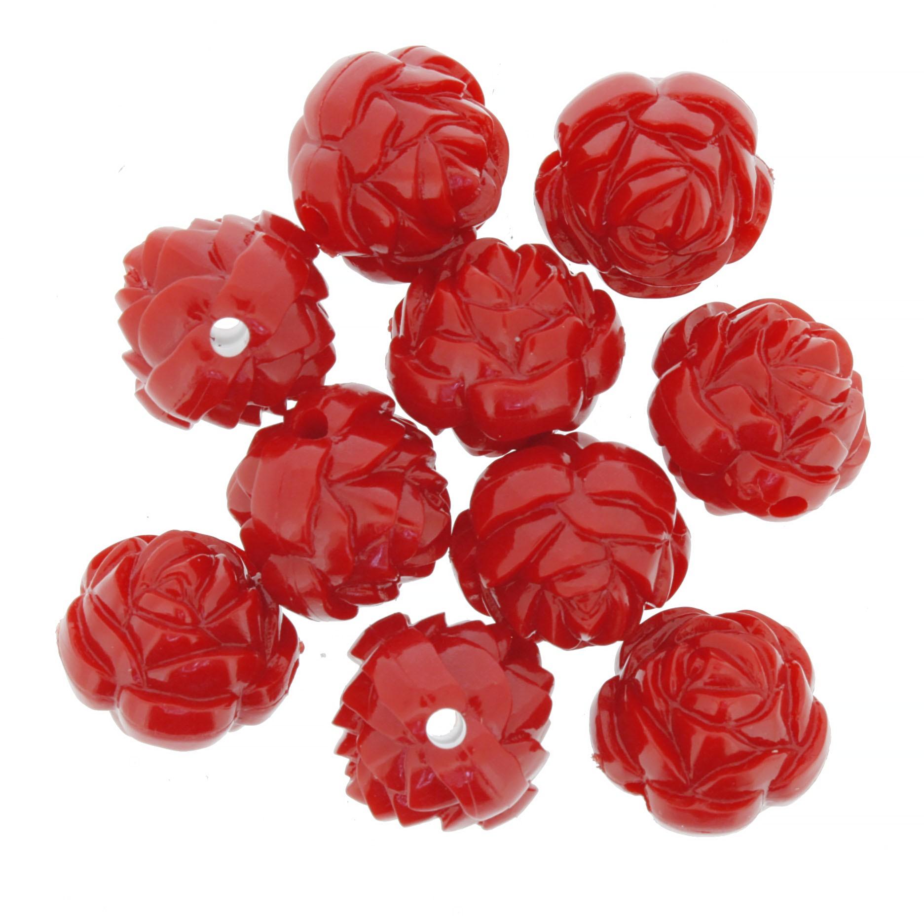 Flor de Resina - Vermelha - 16mm  - Stéphanie Bijoux® - Peças para Bijuterias e Artesanato