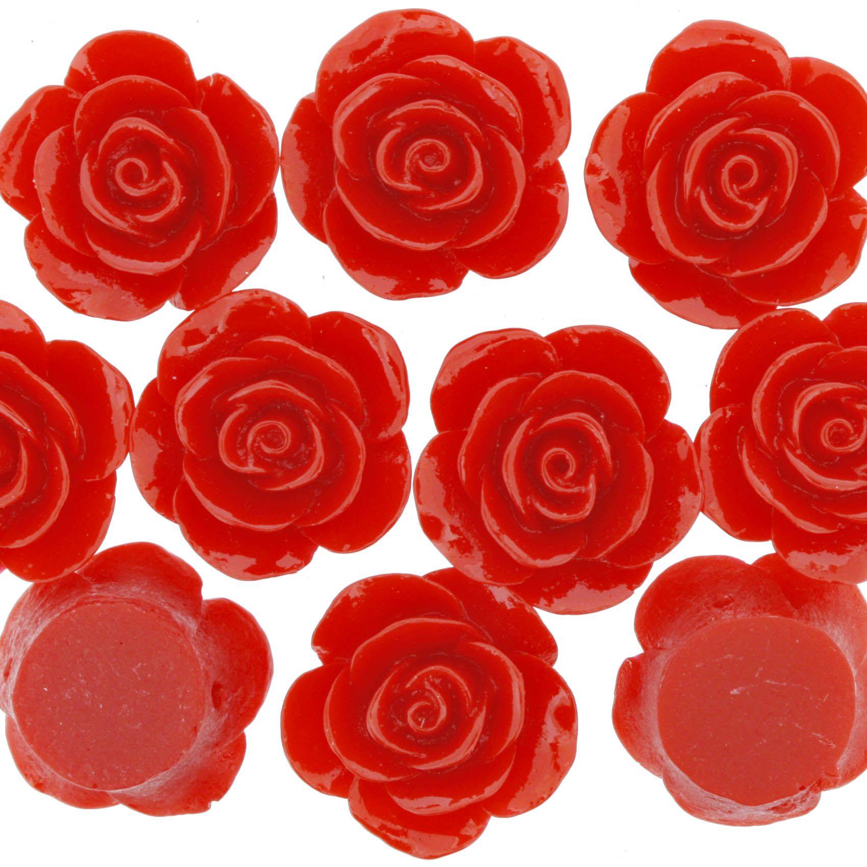 Flor de Resina - Vermelha - 23mm  - Stéphanie Bijoux® - Peças para Bijuterias e Artesanato