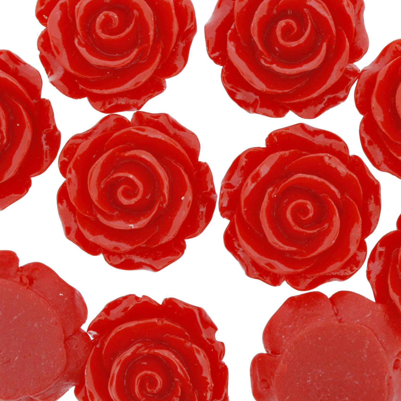 Flor de Resina - Vermelha - 28mm  - Stéphanie Bijoux® - Peças para Bijuterias e Artesanato