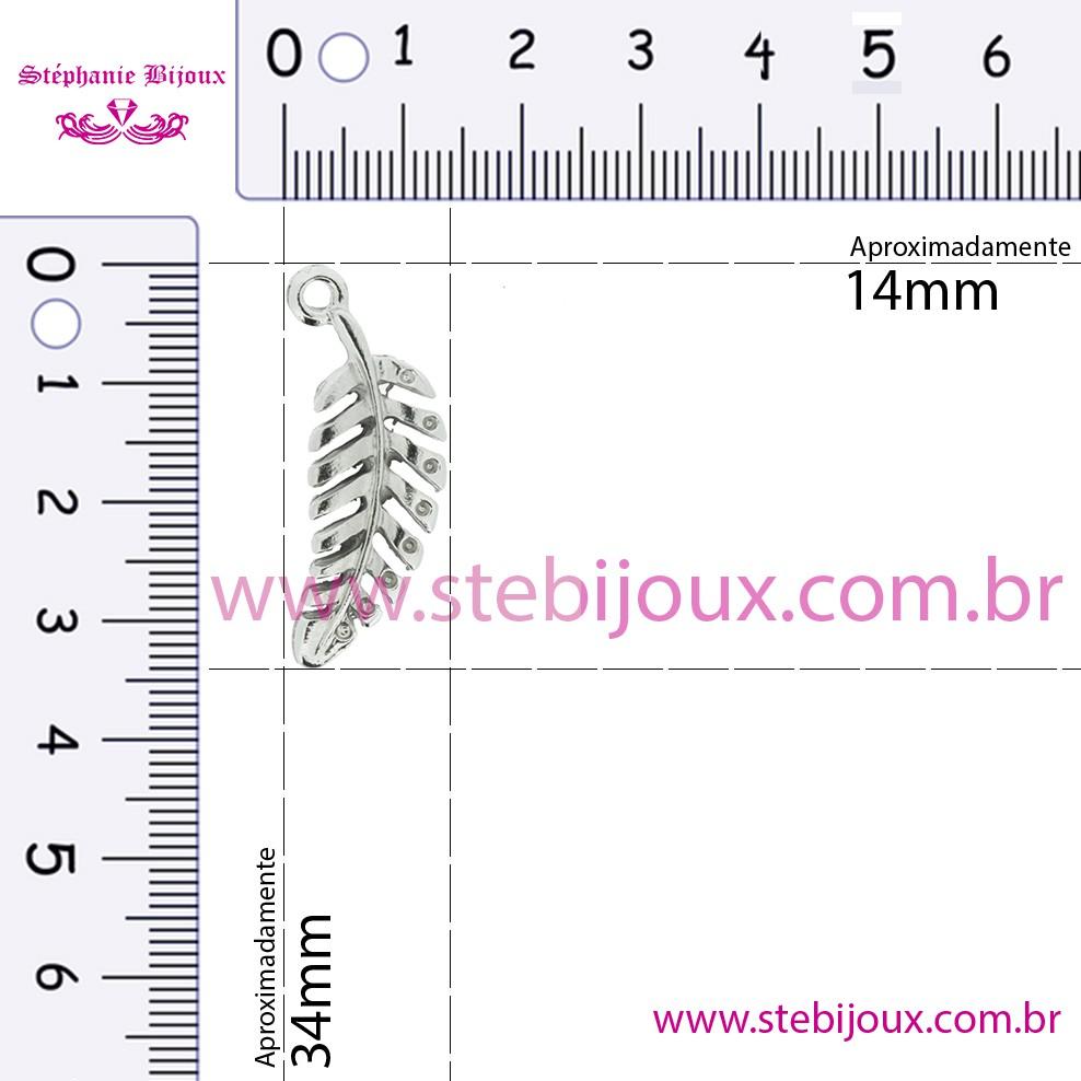 Folha - Níquel - 34mm  - Stéphanie Bijoux® - Peças para Bijuterias e Artesanato
