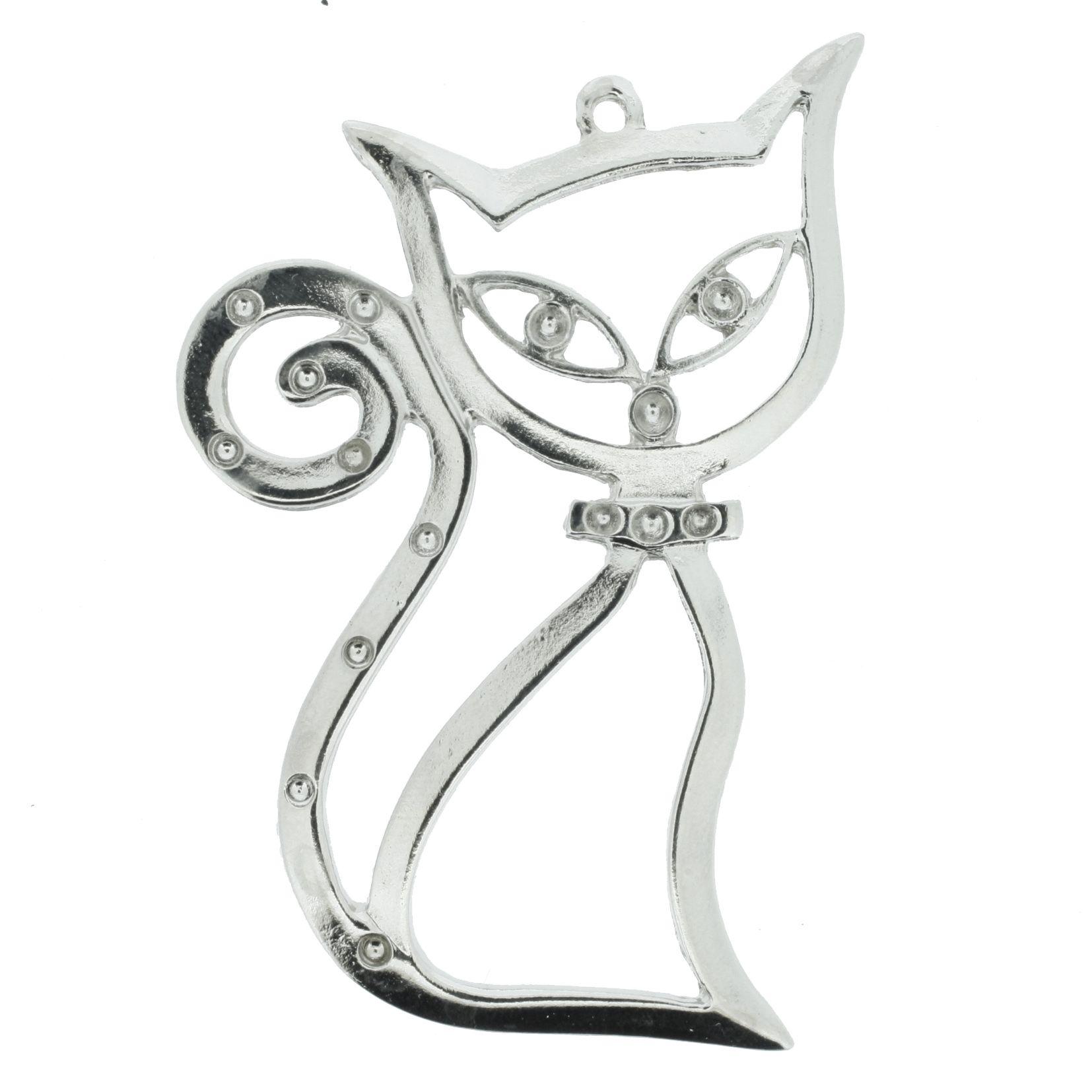 Gato Místico - Níquel - 68mm  - Stéphanie Bijoux® - Peças para Bijuterias e Artesanato