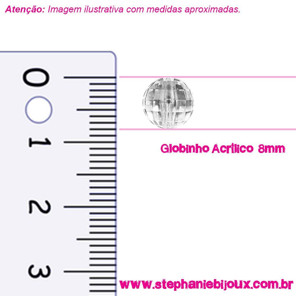 Globinho Acrílico - Transparente - 8mm  - Stéphanie Bijoux® - Peças para Bijuterias e Artesanato