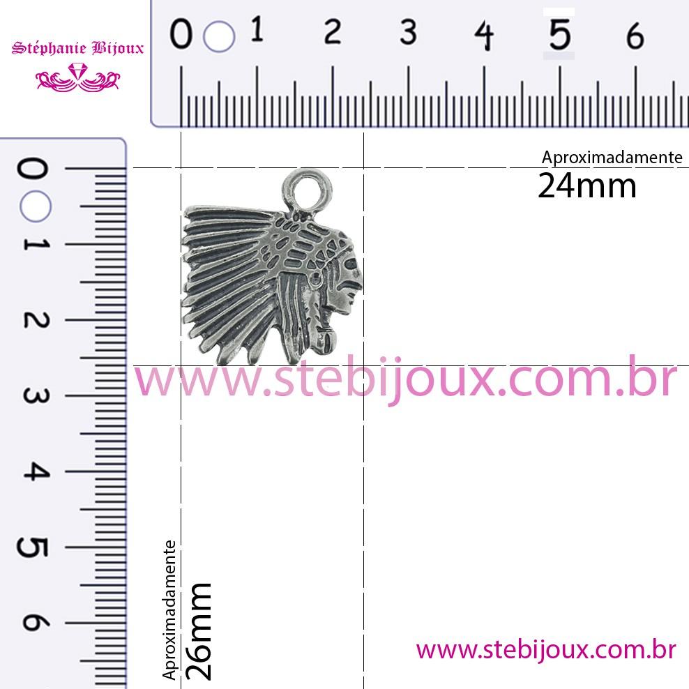 Índio Caboclo - Níquel Velho - 26mm  - Stéphanie Bijoux® - Peças para Bijuterias e Artesanato