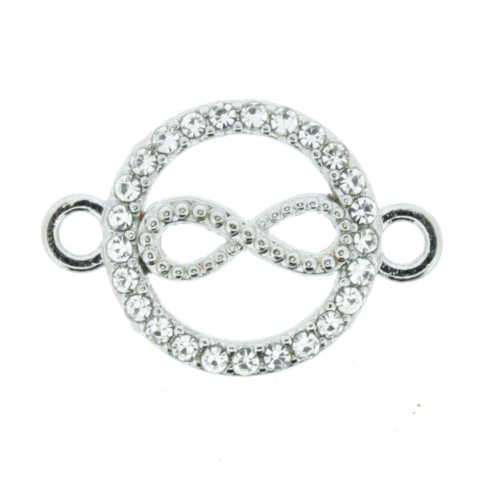 Infinito - Níquel com Strass - 16mm  - Stéphanie Bijoux® - Peças para Bijuterias e Artesanato