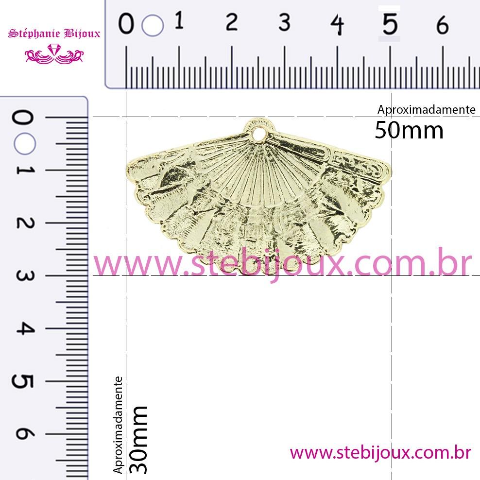 Leque - Dourado - 30mm  - Stéphanie Bijoux® - Peças para Bijuterias e Artesanato