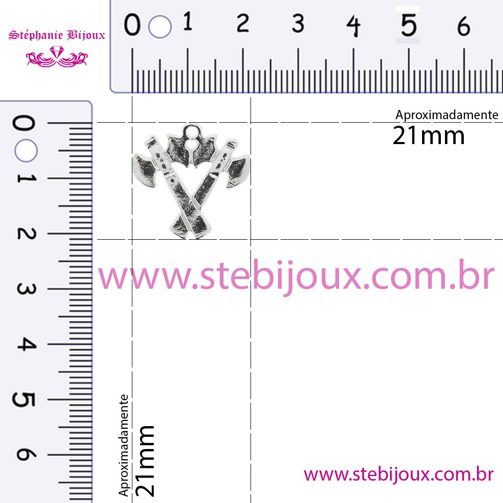 Machado - Níquel - 21mm  - Stéphanie Bijoux® - Peças para Bijuterias e Artesanato